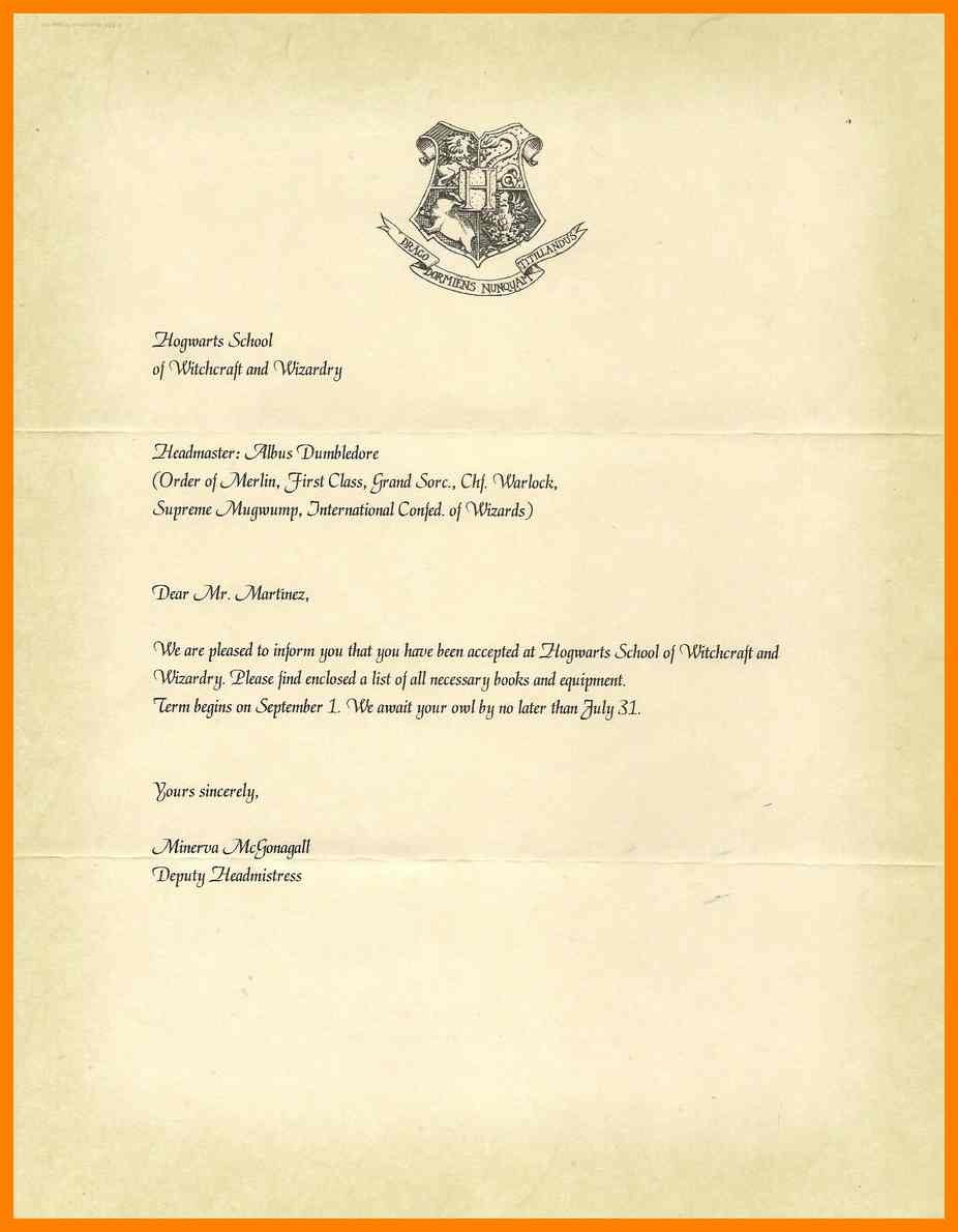 Harry Potter Acceptance Letter Template Printable | Free Letter - Hogwarts Acceptance Letter Template Free Printable