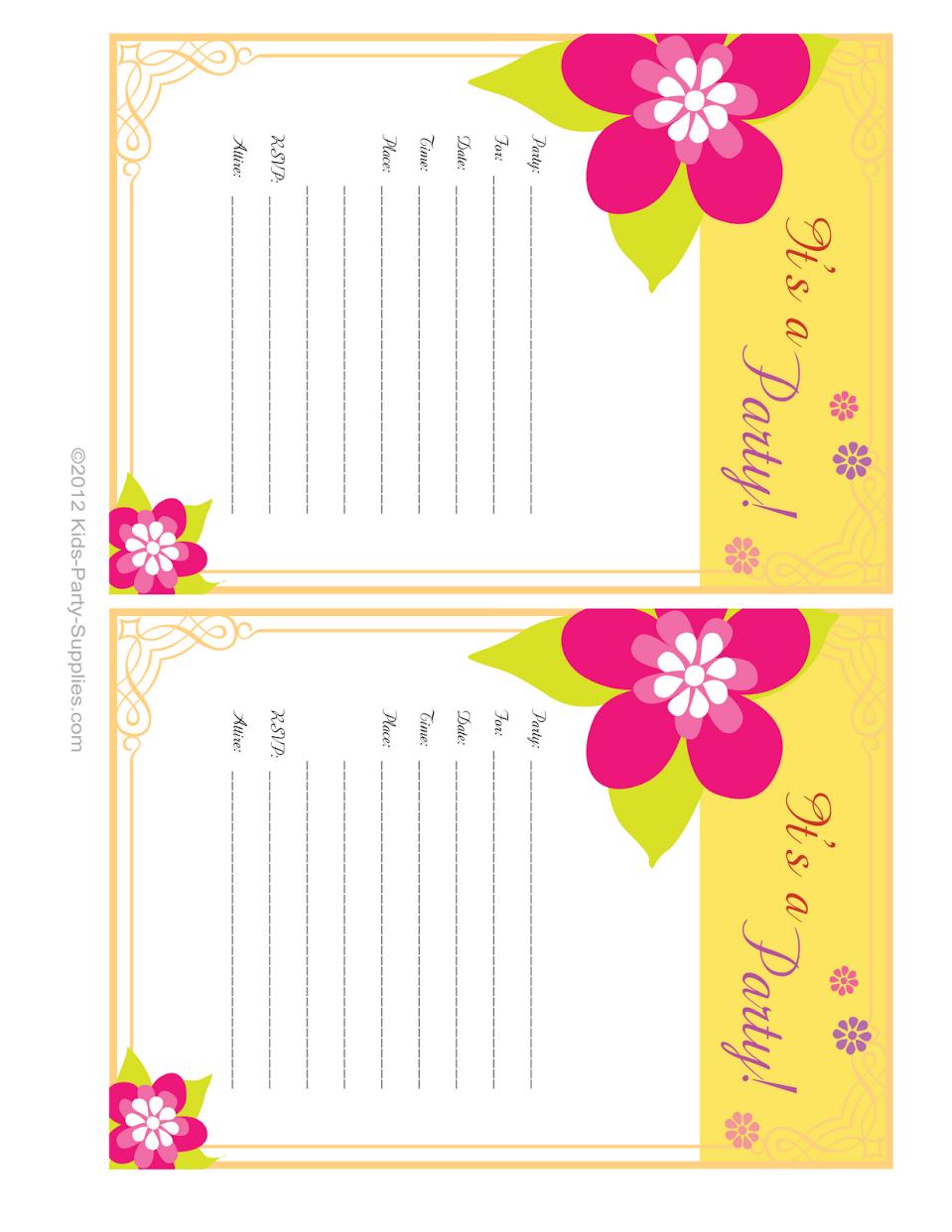 Hawaiian Party Invitations Free Printable   Party Invitations   Free - Hawaiian Party Invitations Free Printable