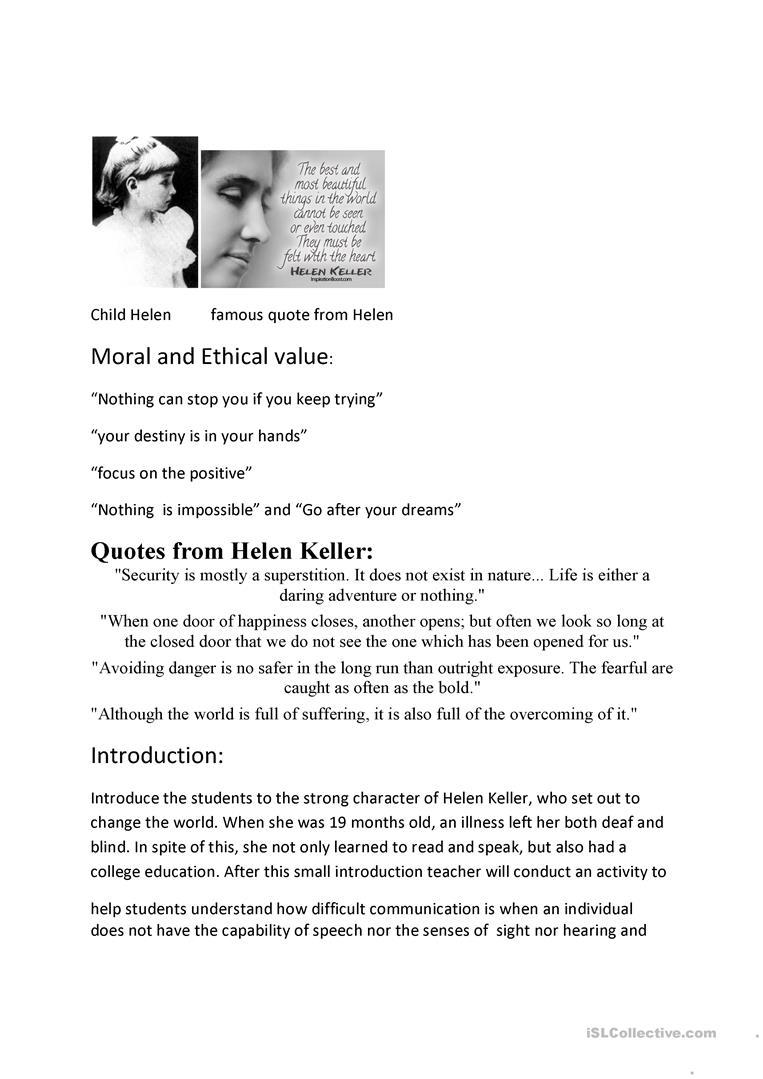 Helen Keller Lesson Plan Worksheet - Free Esl Printable Worksheets - Free Printable Pictures Of Helen Keller