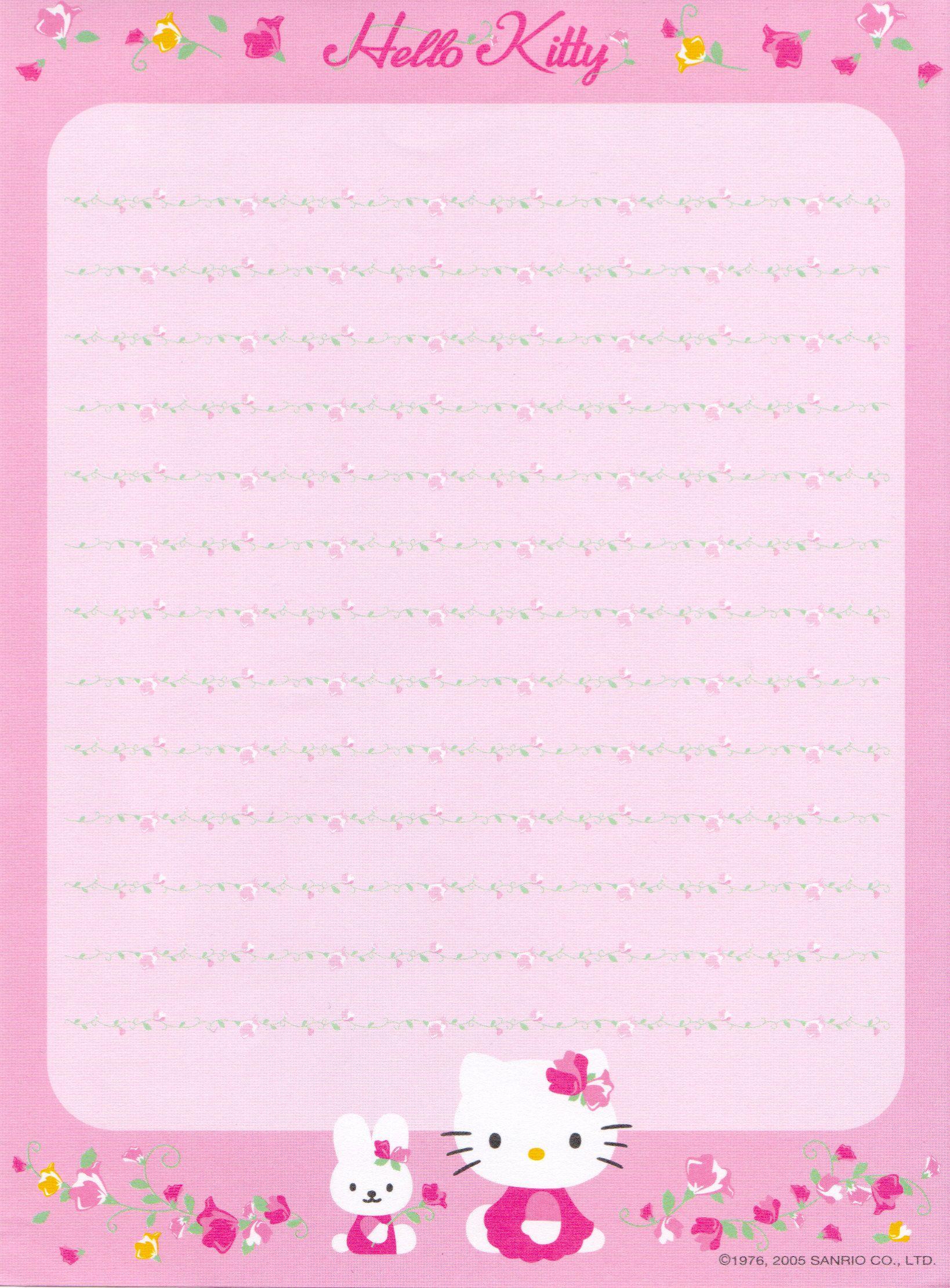 Hello Kitty | Borders,stationary,backgrounds | Free Printable - Free Printable Hello Kitty Stationery