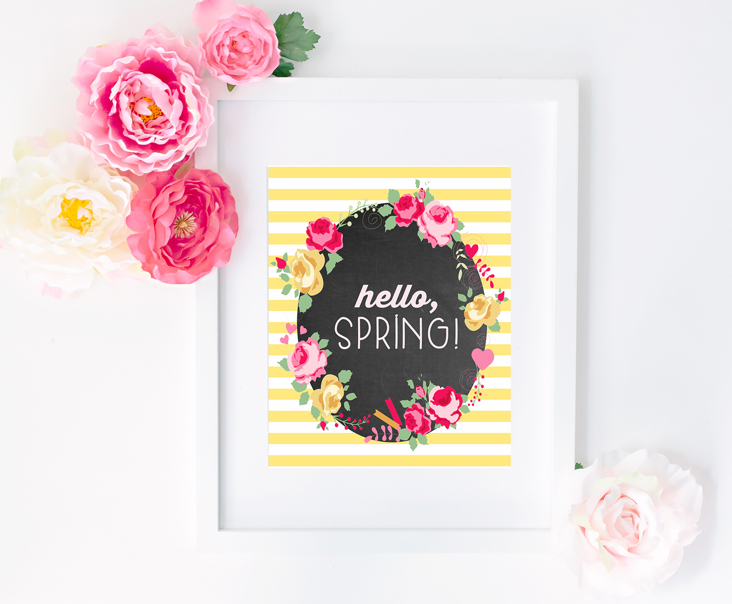 """Hello, Spring!"""" Free Printable - Happiness Is Homemade - Free Printable Spring Decorations"""