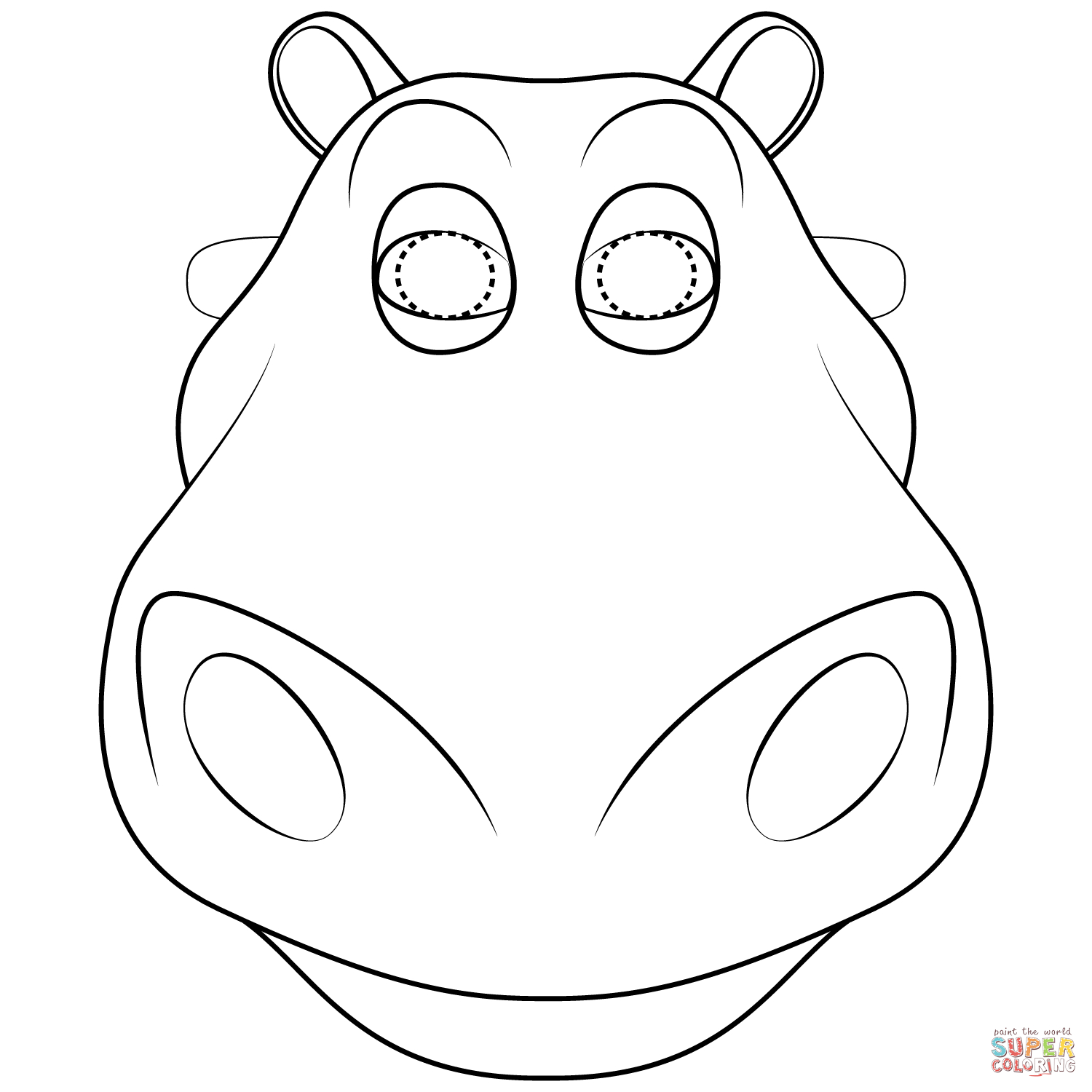 Hippo Mask Coloring Page   Free Printable Coloring Pages - Free Printable Hippo Mask
