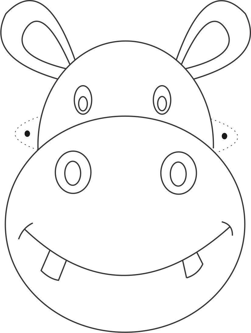 Hippo Mask Printable Coloring Page For Kids   Çizimler   Máscaras De - Free Printable Hippo Mask