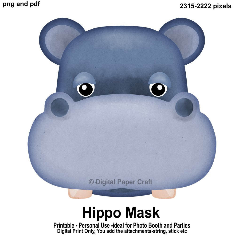 Hippopotamus Mask Hippo Mask Printable Mask Instant   Etsy - Free Printable Hippo Mask