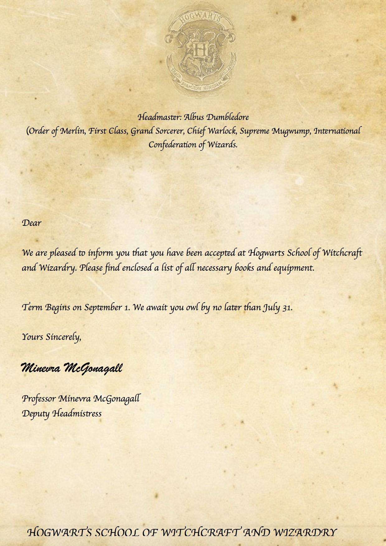 Hogwarts Acceptance Letter Envelope Template Printable Examples - Hogwarts Acceptance Letter Template Free Printable
