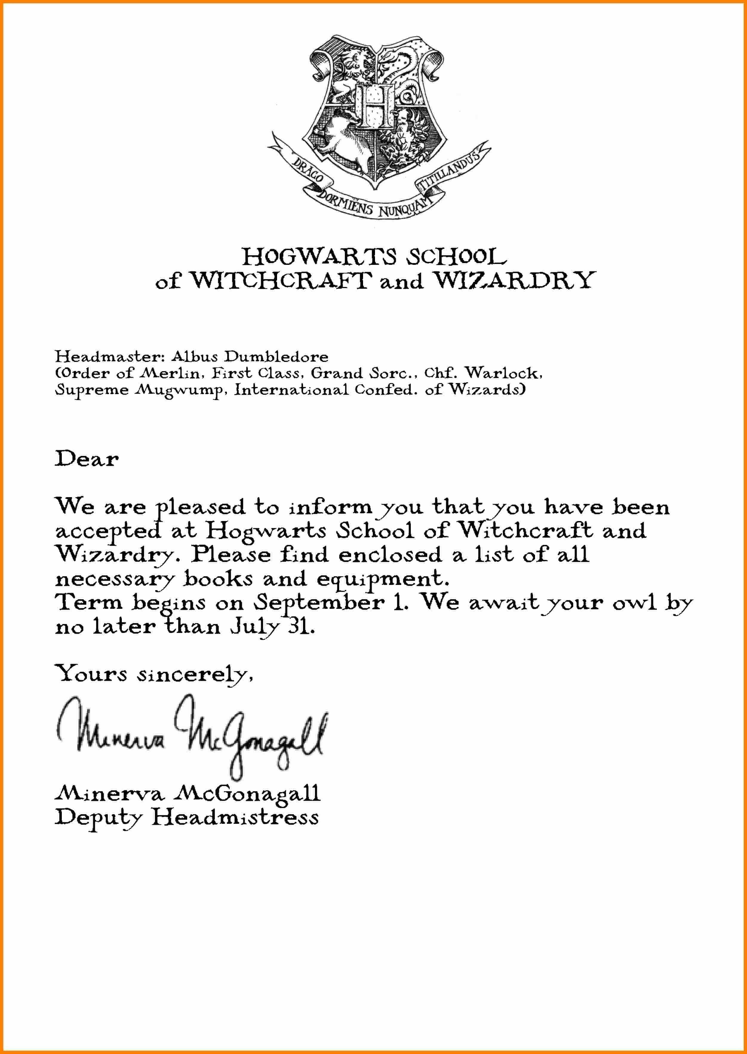 Hogwarts Acceptance Letter Template | Dreamreach100818B - Hogwarts Acceptance Letter Template Free Printable