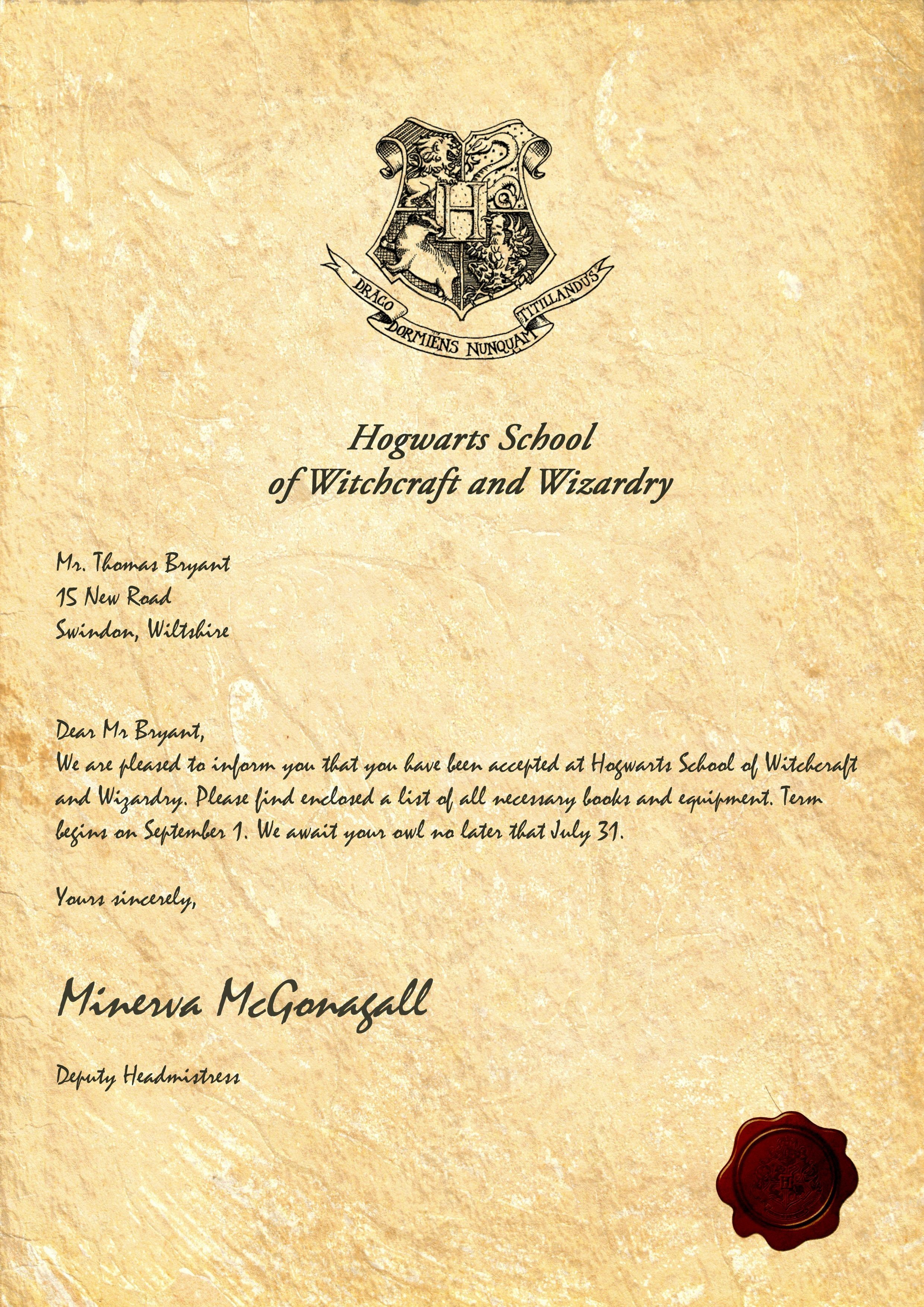 Hogwarts Acceptance Letter Template Free | Write The Perfect Cover - Hogwarts Acceptance Letter Template Free Printable