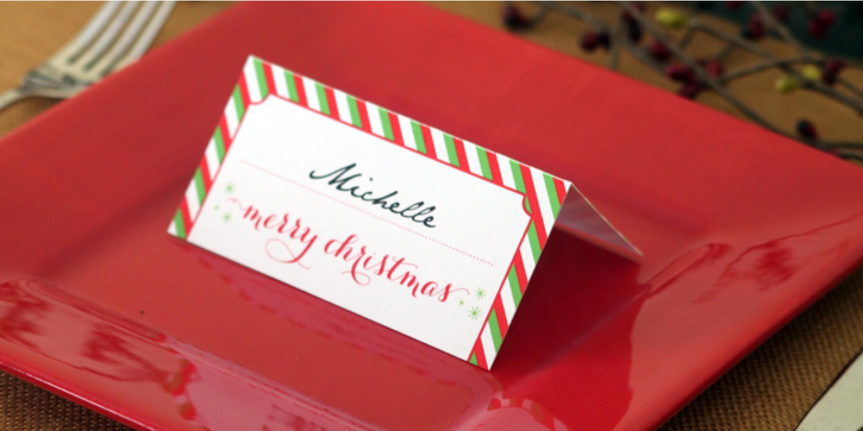 Holiday Place Card Diy Printable - Christmas Table Name Cards Free Printable