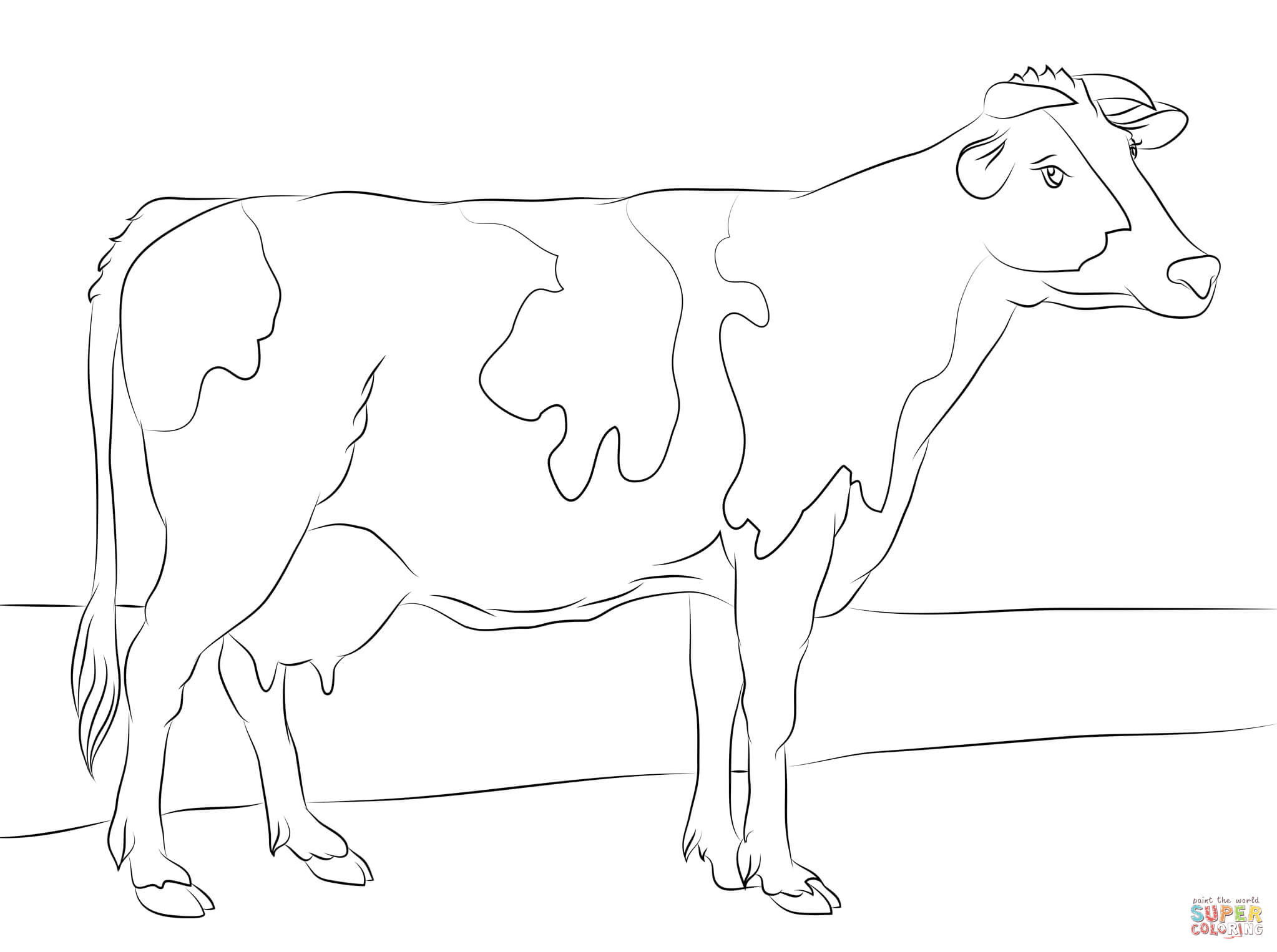 Holstein Cow Coloring Page | Free Printable Coloring Pages - Coloring Pages Of Cows Free Printable