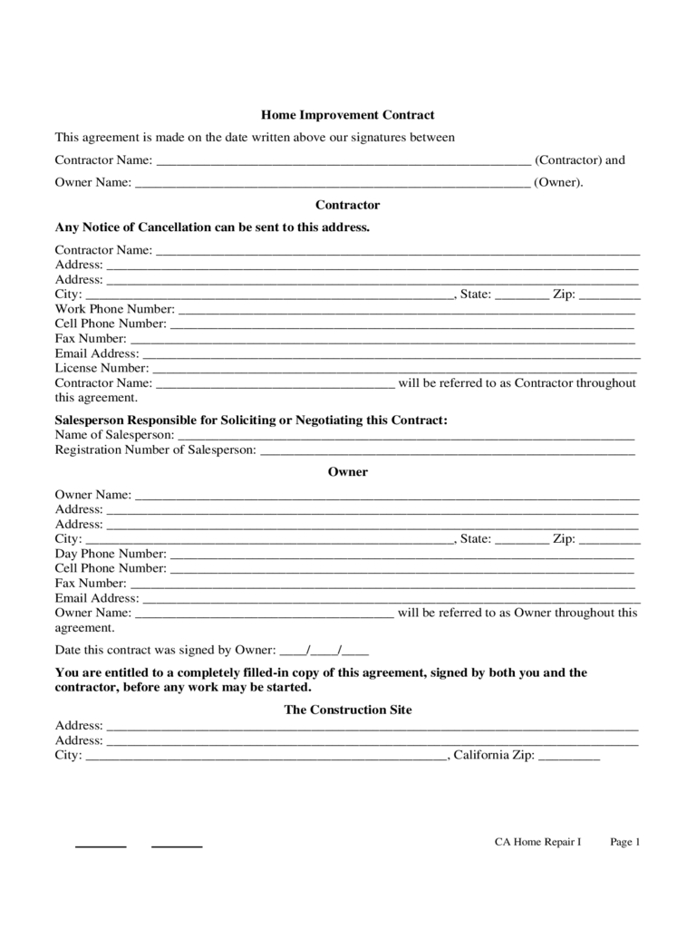 Home Improvement Contract Template - 3 Free Templates In Pdf, Word - Free Printable Home Improvement Contracts
