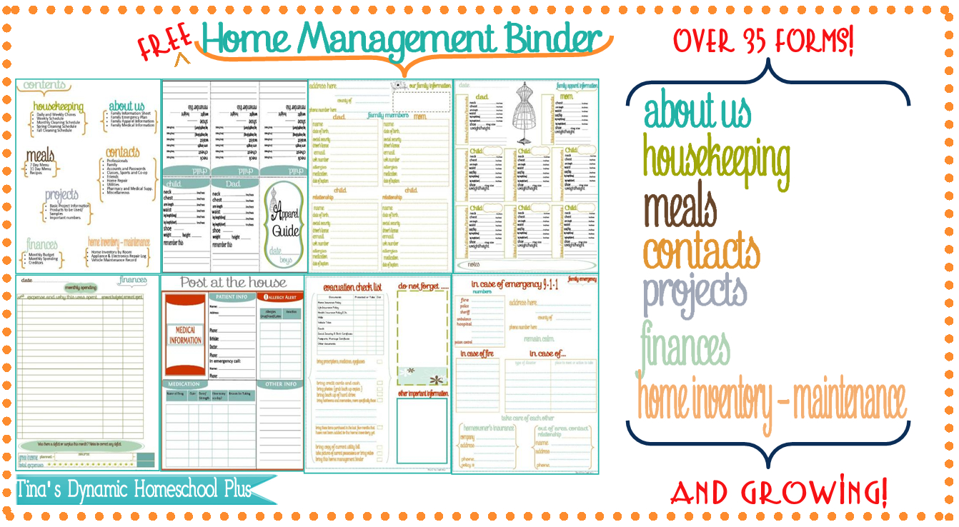 Home Management Binder And Free Important Dates Printable | Budget - Free Printable Household Binder
