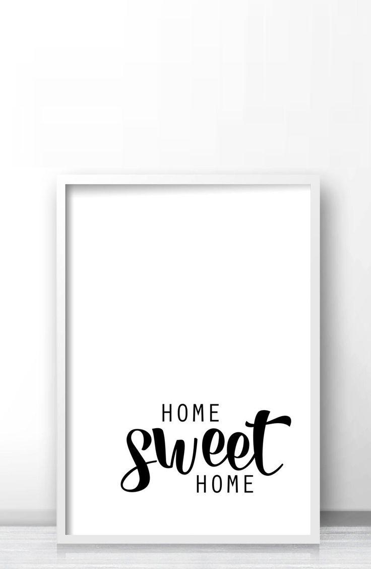 Home Sweet Home Quote Print, Printable Minimalist Wall Art - Free Printable Artwork For Home