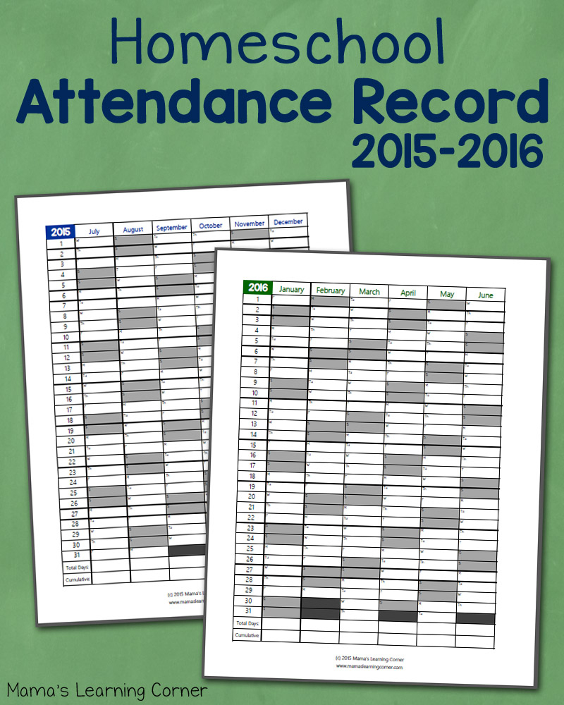 Homeschool Attendance Record 2015-2016: Free Printable - Mamas - Free Printable Attendance Sheets For Homeschool