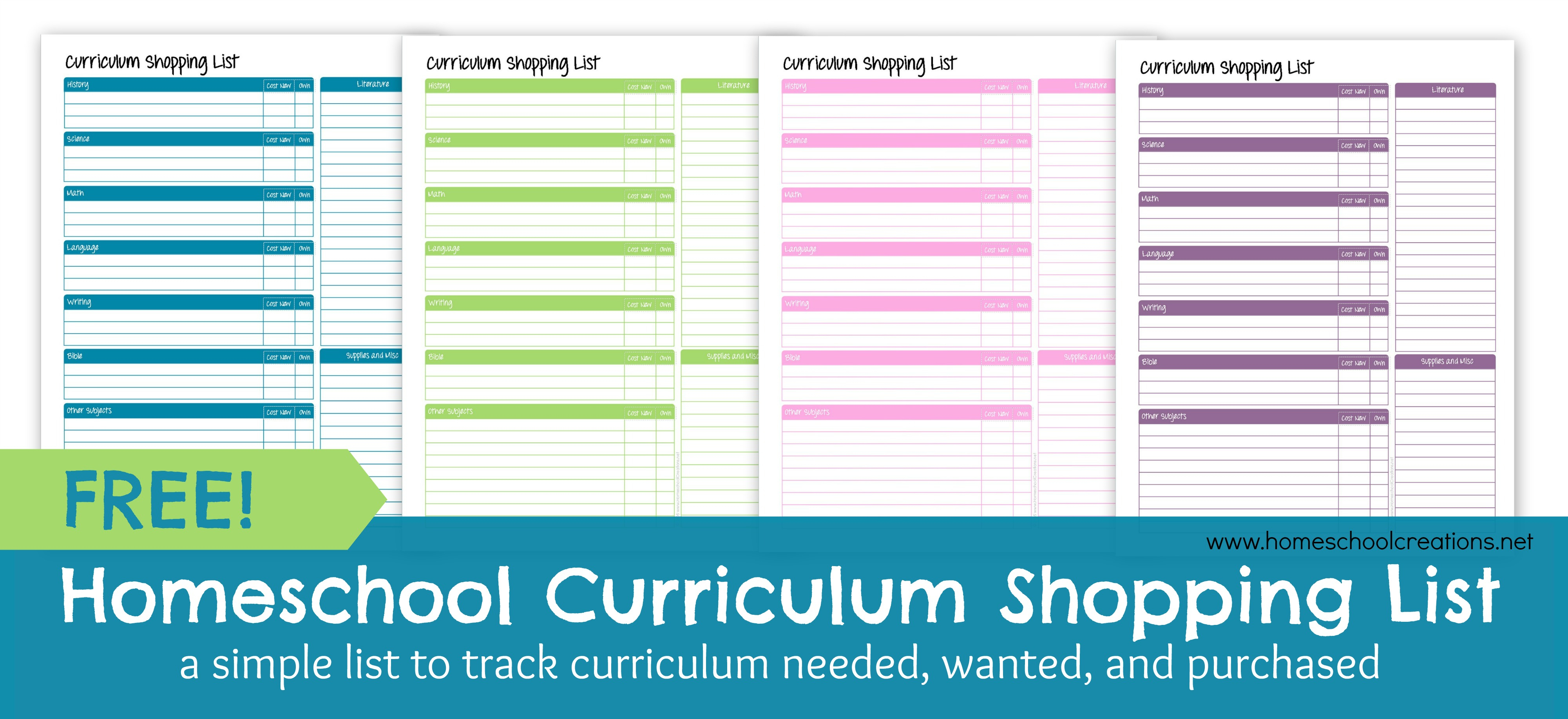 Homeschool Curriculum Shopping List: Free Printable - Free Printable Homeschool Curriculum