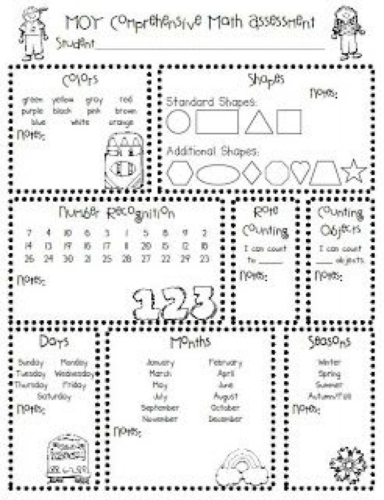 Homeschool Parent: Printable Kindergarten Assessments | School - Free Printable Informal Math Assessments