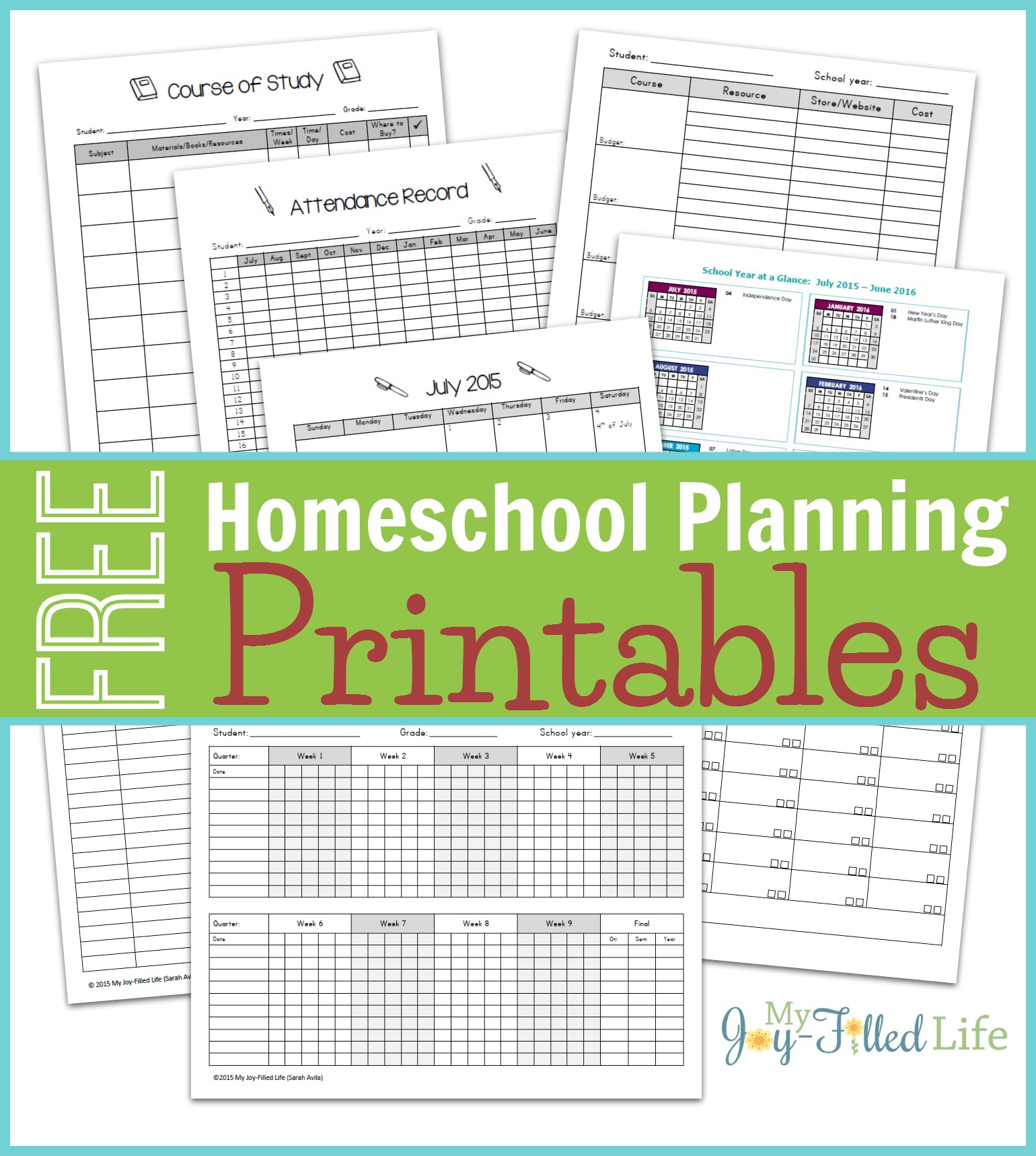 Homeschool Planning Resources & Free Printable Planning Pages - My - Free Printable Homeschool Curriculum