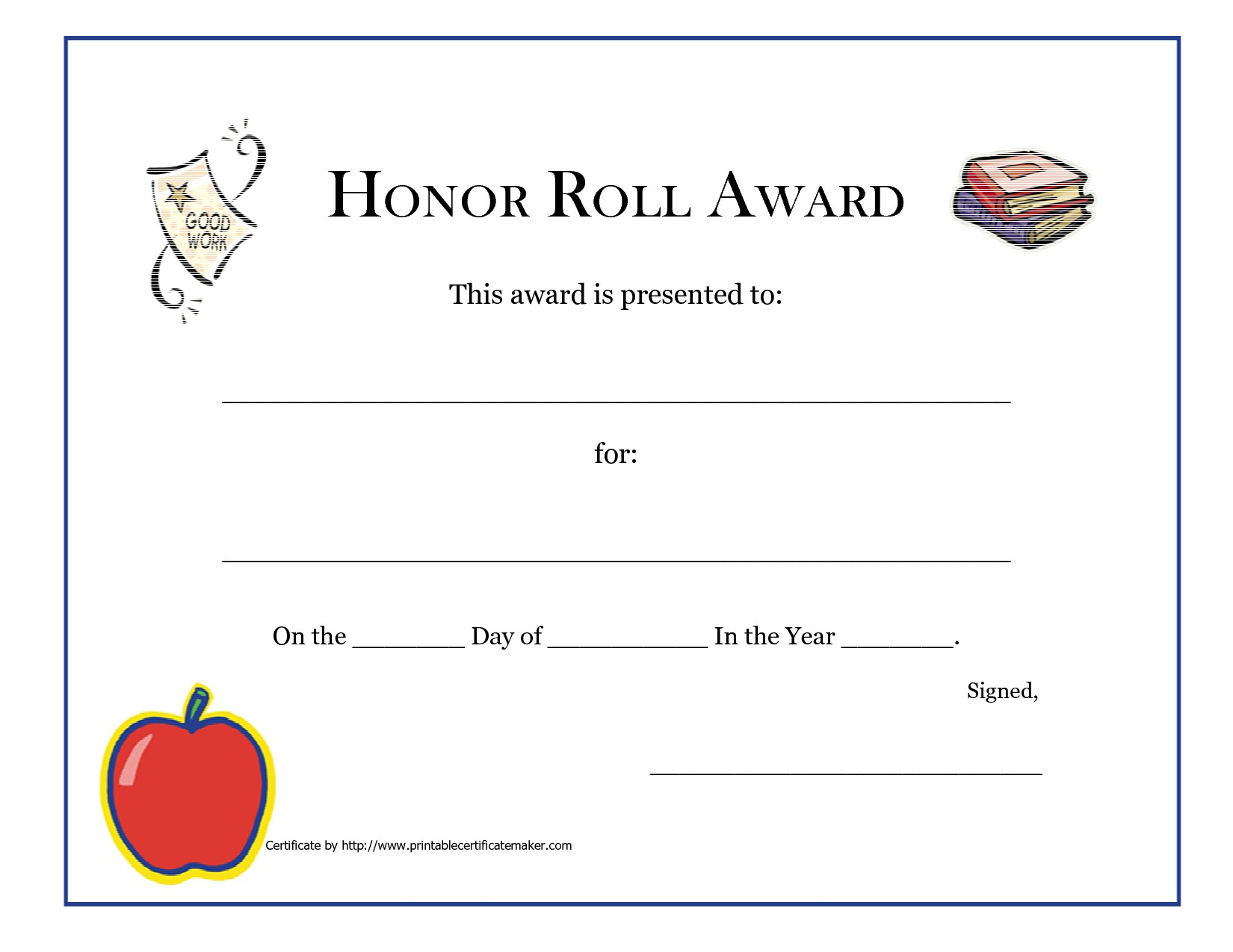 Honor Roll Certificates Printable   Www.topsimages - Free Printable Honor Roll Certificates Kids