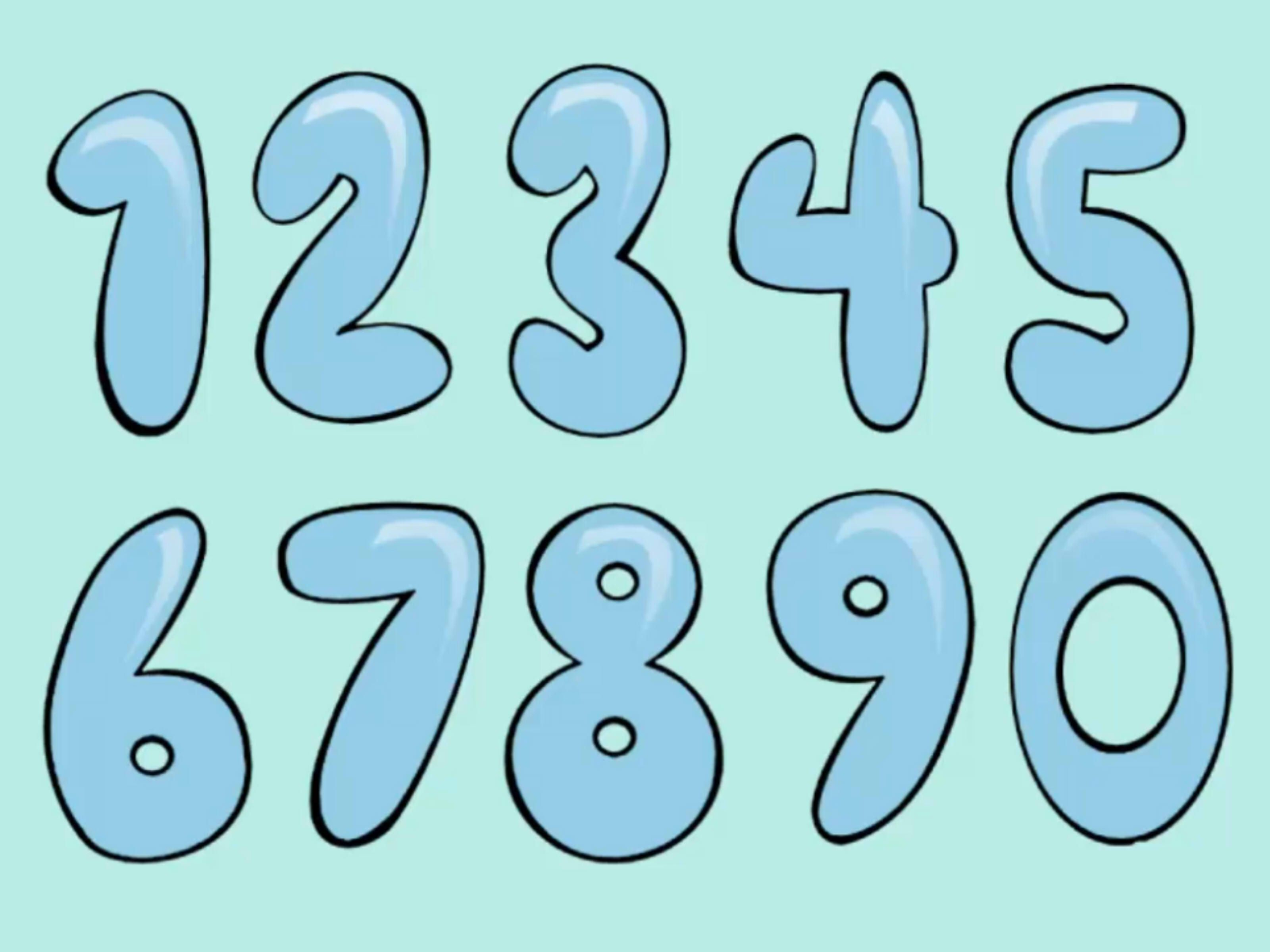 How To Draw Bubble Numbers | Stuff | Bubble Numbers, Bubble Drawing - Free Printable Bubble Numbers