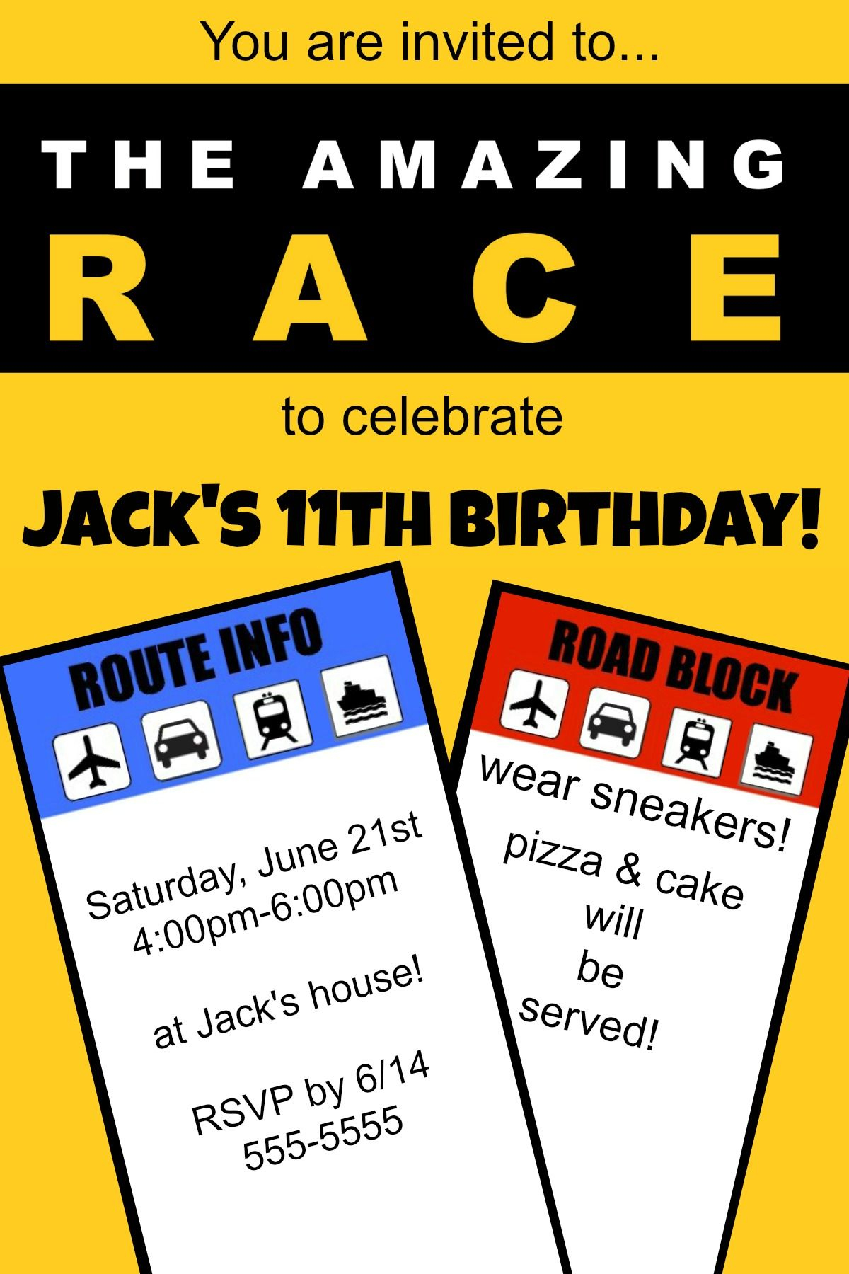 """How To Host An """"amazing Race"""" Birthday Party At Home!   Ideas For My - Free Printable Amazing Race Invitations"""