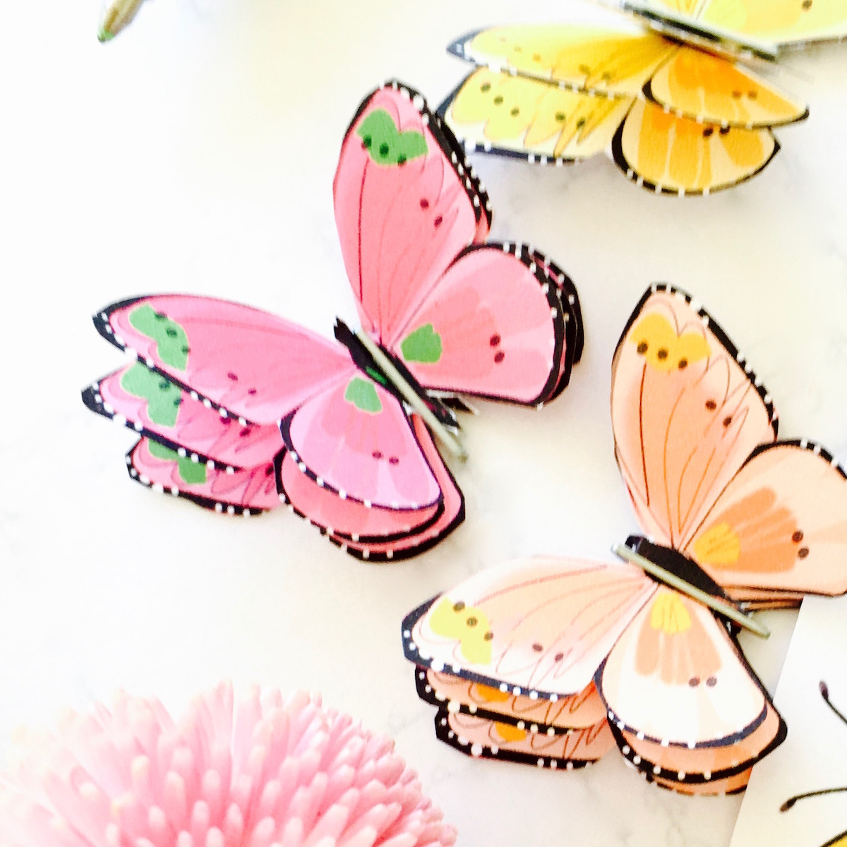 How To Make A 3D Paper Butterfly + Free Printable Butterfly Sticker - Free Printable Butterfly Pictures