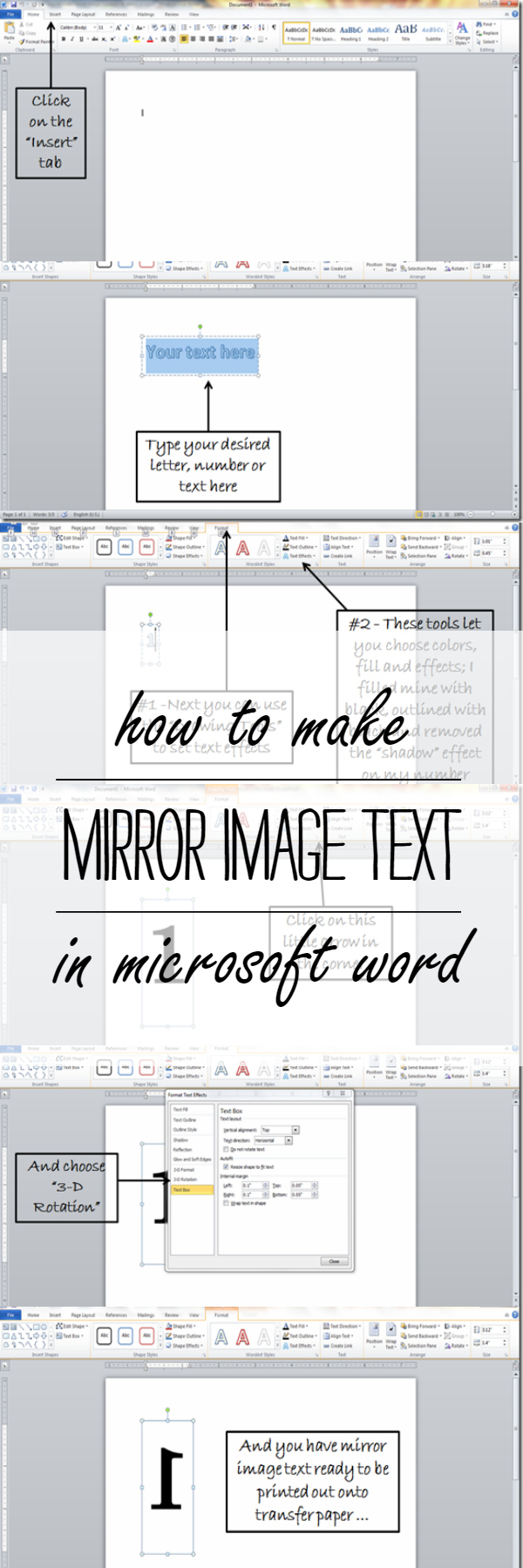 How To Make Mirror Image Text In Microsoft Word - Free Printable Mirrored Numbers