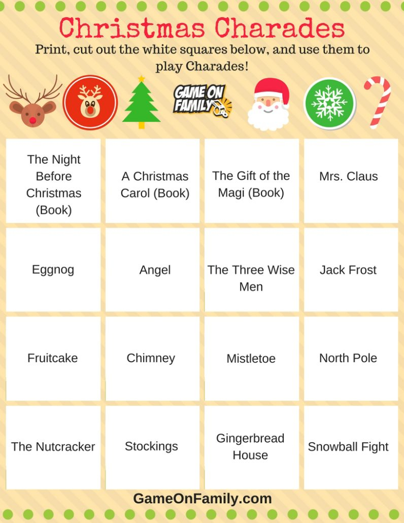 How To Play Christmas Charades: Free Printable Games! | Game On Family - Free Printable Christmas Charades Cards