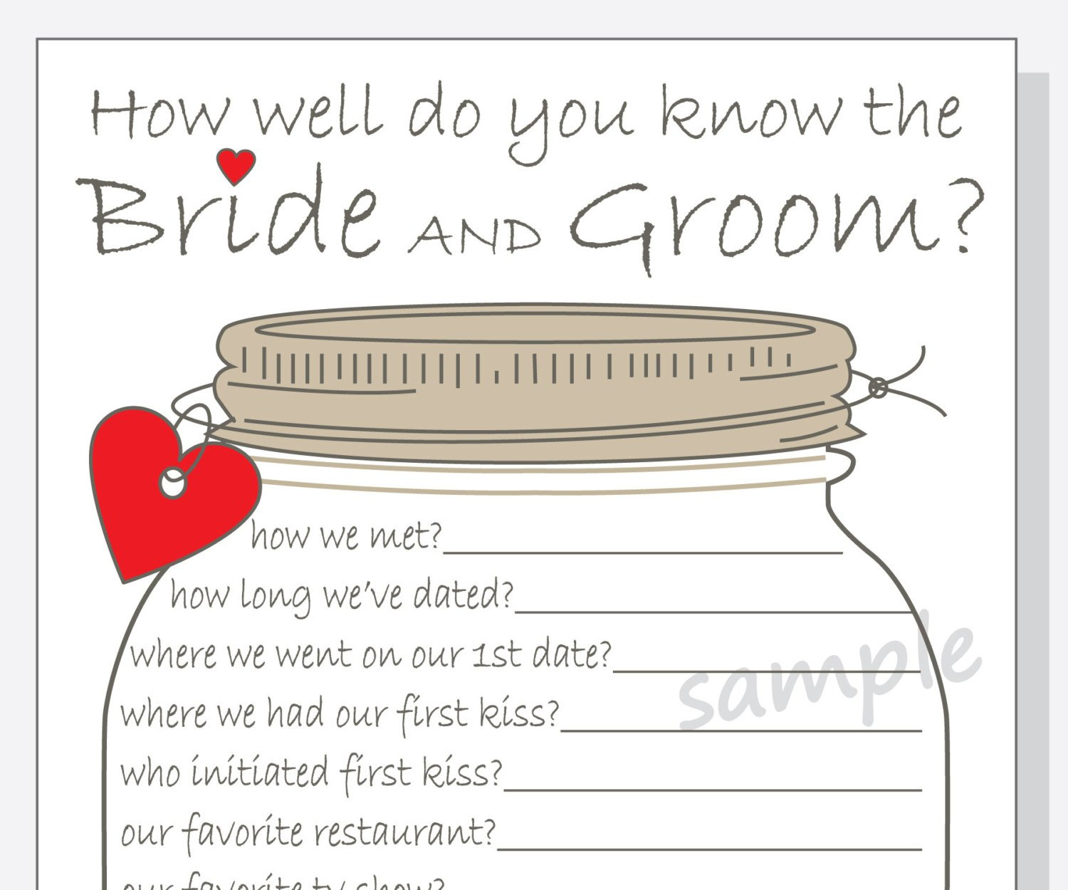 How Well Do You Know The Bride And Groom Printable Cards | Etsy - How Well Does The Bride Know The Groom Free Printable