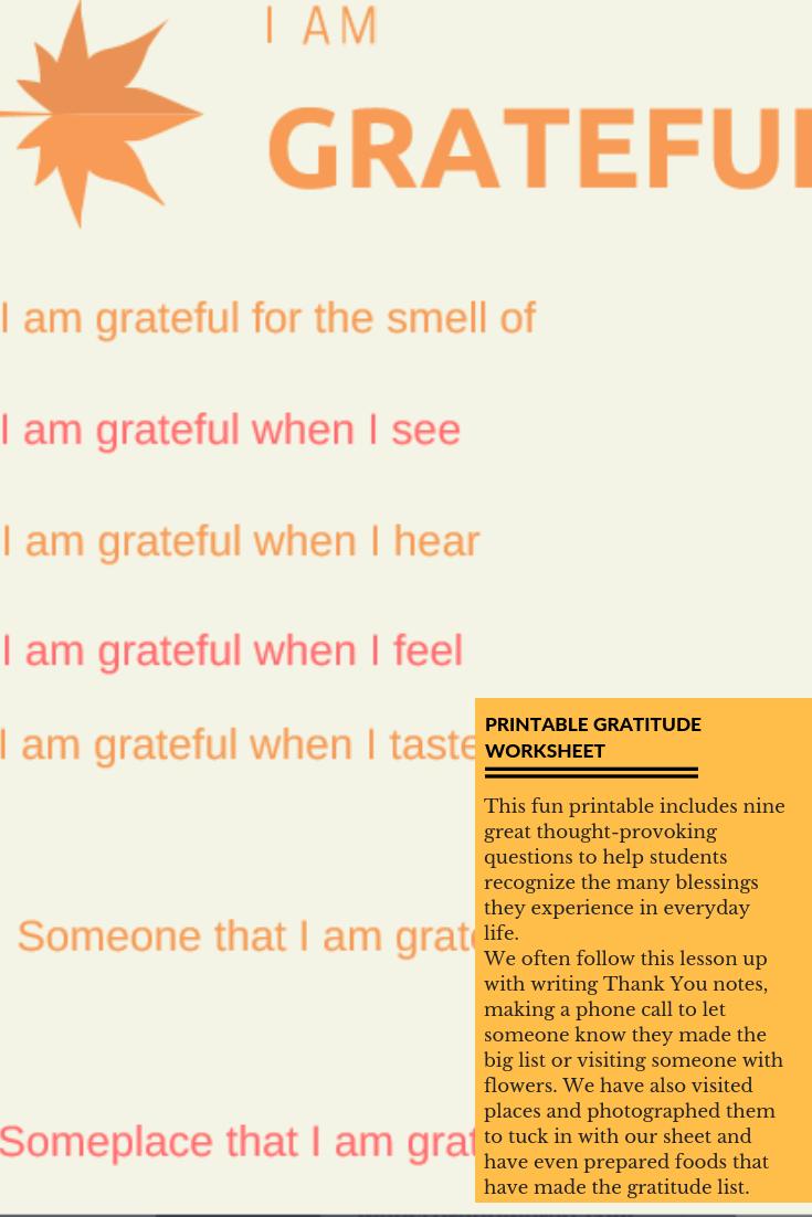 I Am Grateful Free Printable Worksheet For Students - Free Printable Gratitude Worksheets