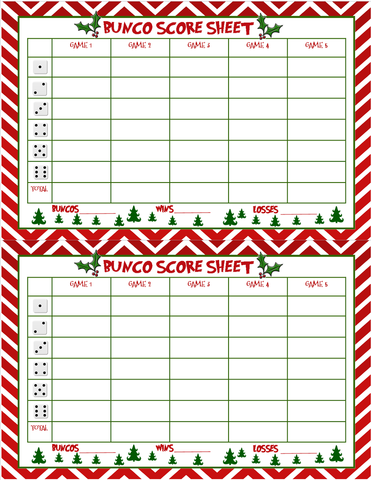 I Seemed To Have Skipped Making A Bunco Score Sheet For Thanksgiving - Free Printable Bunco Score Sheets