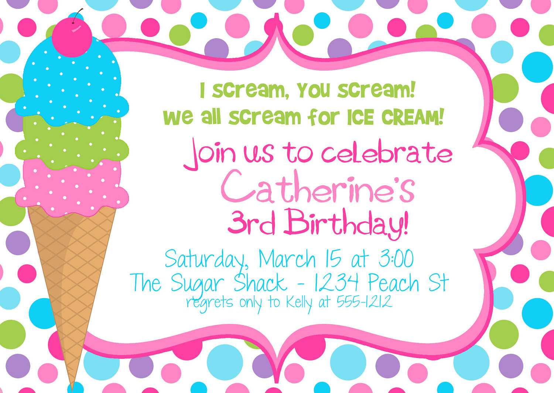 Ice Cream Party Invitations Ice Cream Party Invitations With An - Ice Cream Party Invitations Printable Free