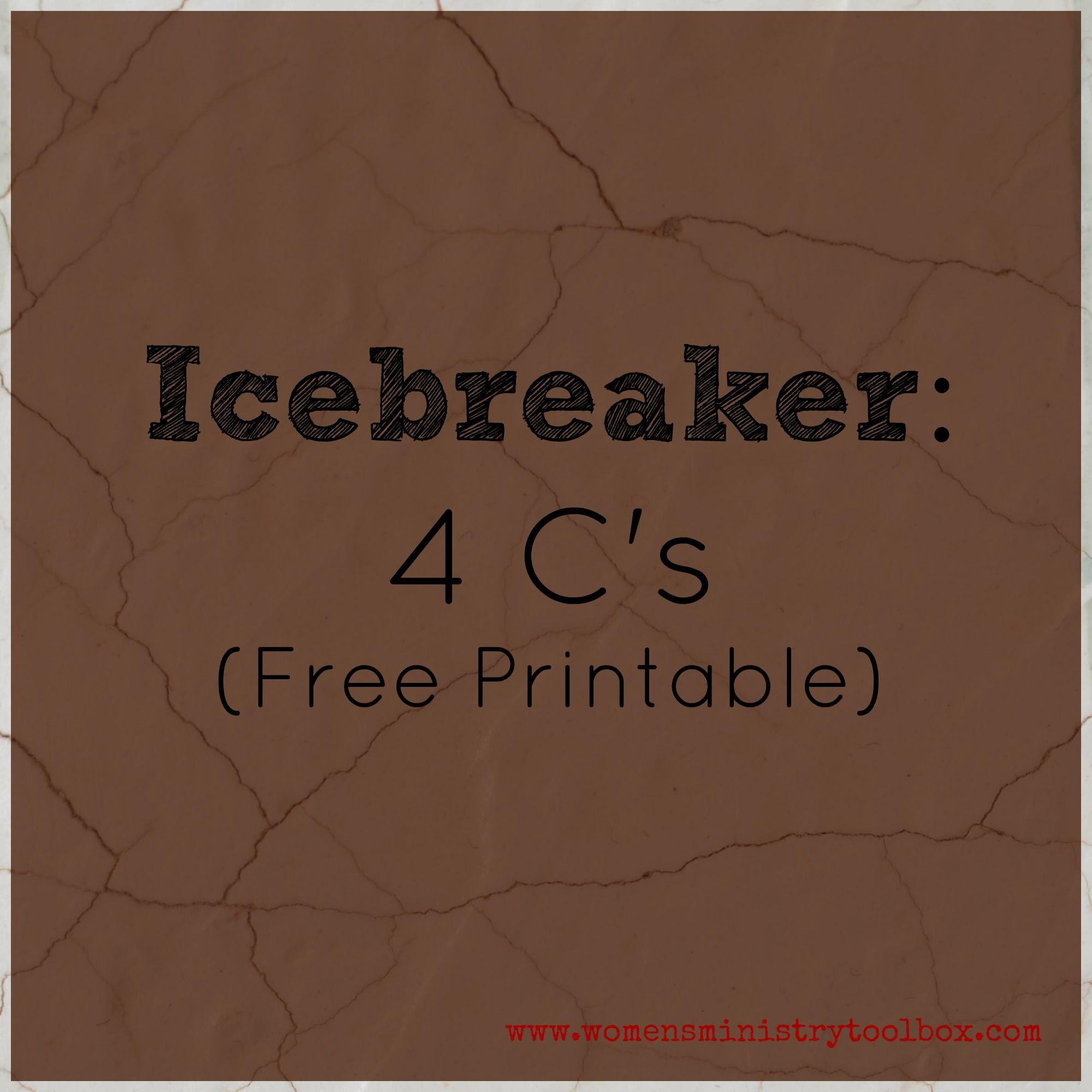 Icebreaker: 4 C's (Free Printable | Women's Ministry | Pinterest - Free Printable Women's Party Games