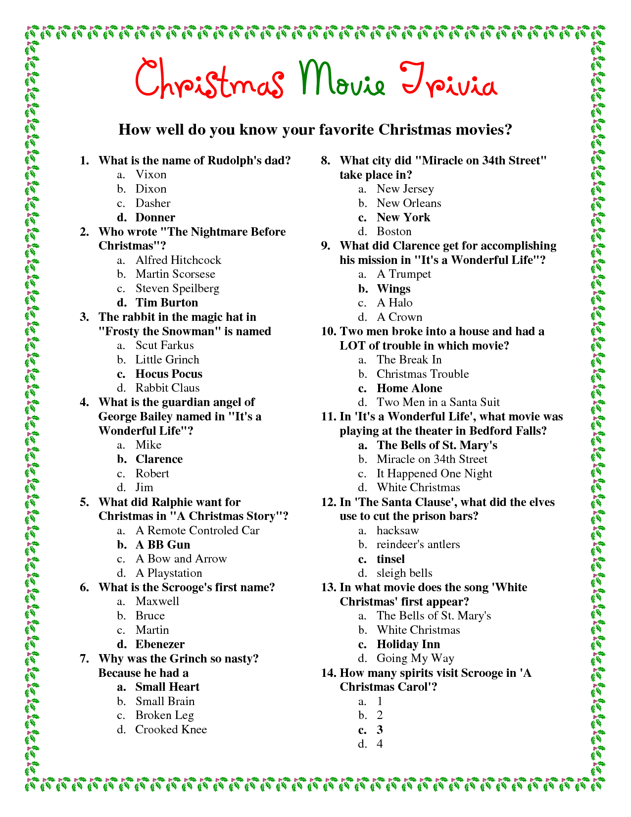Ideas Collection Easy Christmas Trivia Questions And Answers - Free Christmas Picture Quiz Questions And Answers Printable