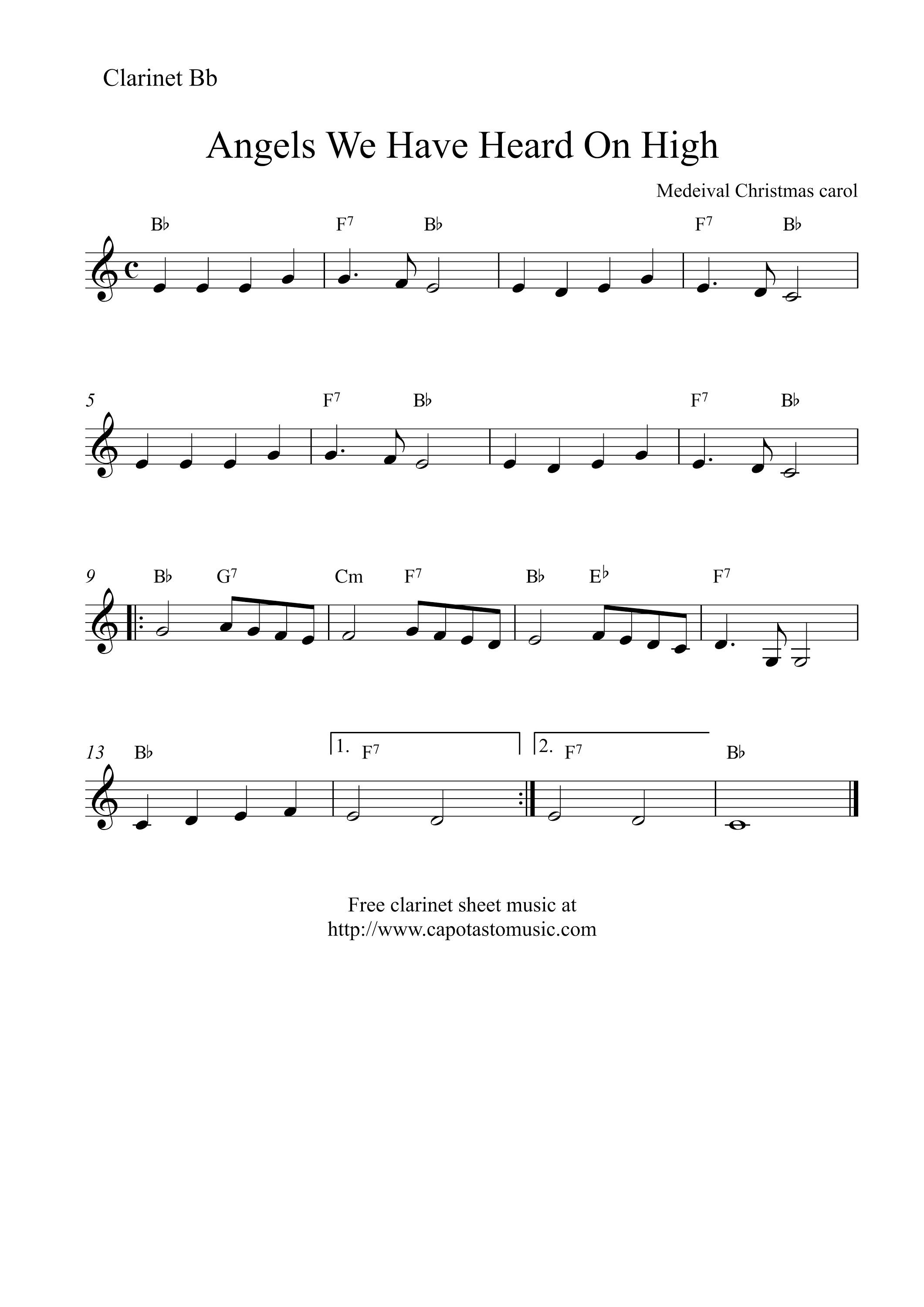 Image Result For Easy Christmas Songs For Clarinet   Christmas Song - Free Printable Clarinet Music