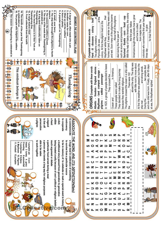 Image Thanksgiving Worksheet Esl 22 Thanksgiving Minibook Esl - Free Thanksgiving Mini Book Printable