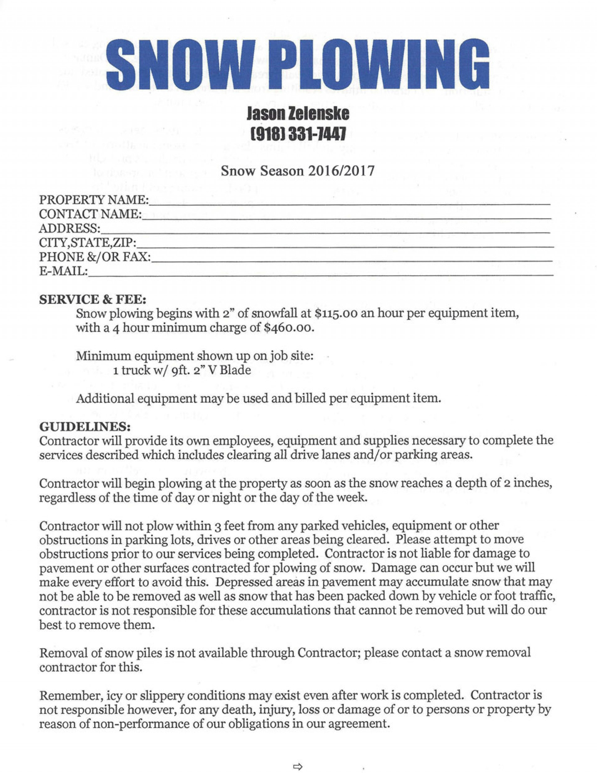 Impressive Snow Removal Contract Templates ~ Ulyssesroom - Free Printable Snow Removal Contract