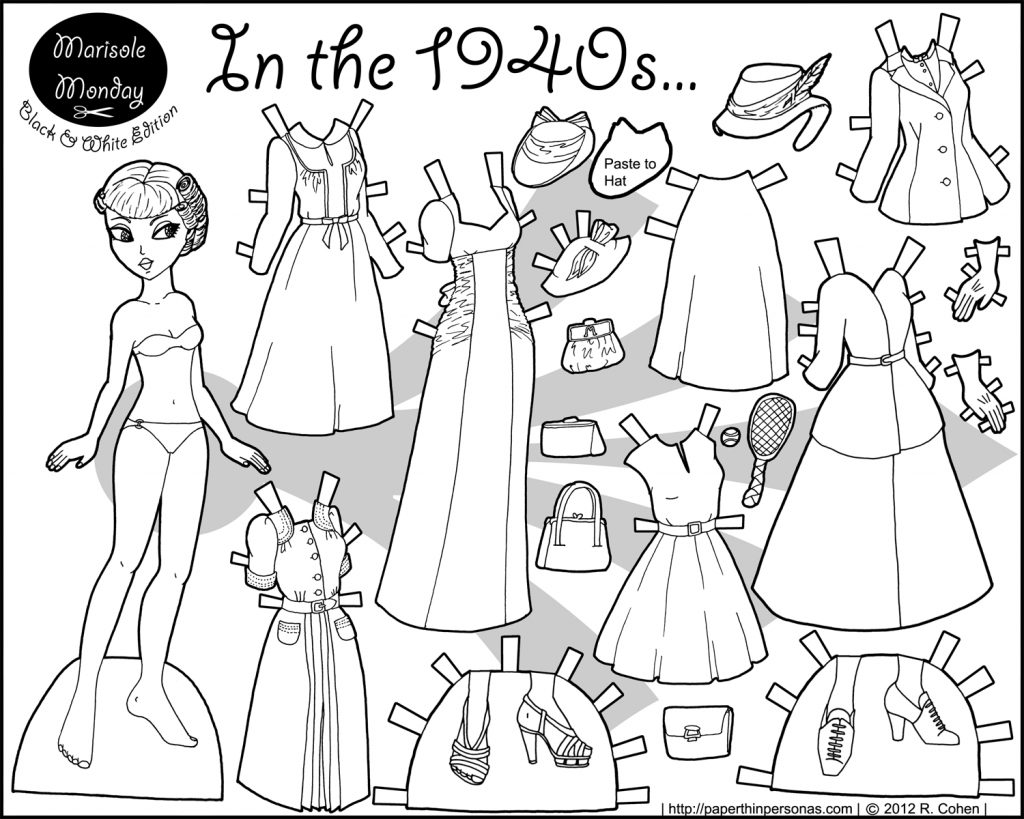 graphic regarding Free Printable Paper Dolls Black and White known as Within just The 1940S Paper Doll Coloring Webpage Paper Doll 7