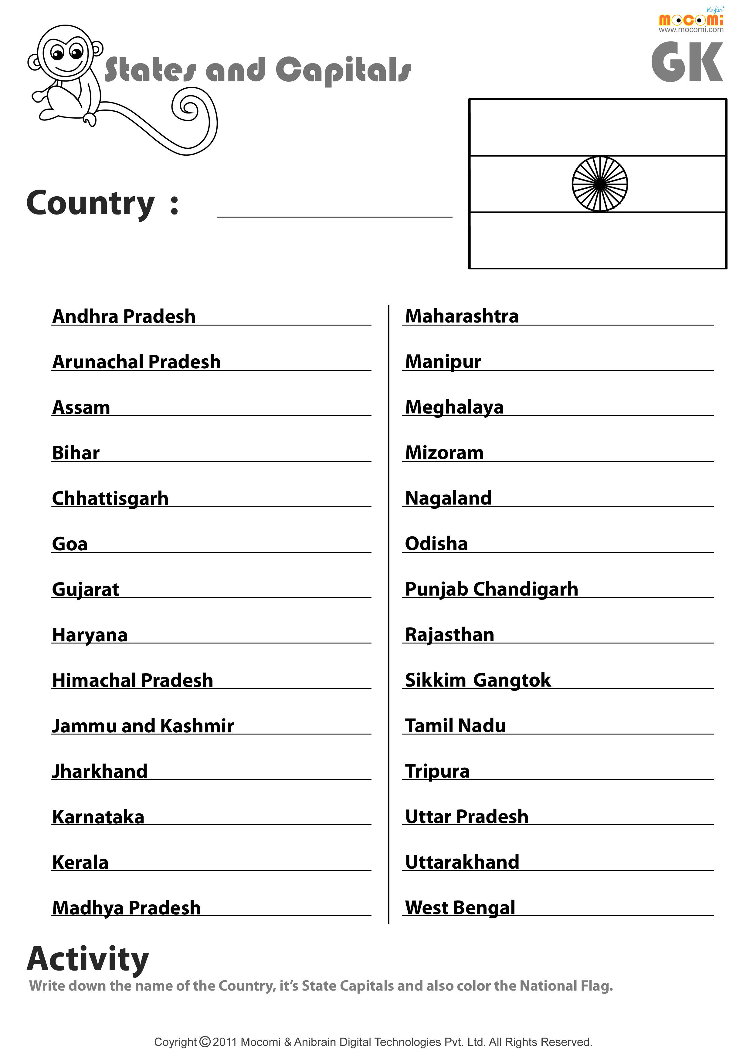 Indian States And Their Capitals - English Worksheets For Kids | Mocomi - Free Printable States And Capitals Worksheets