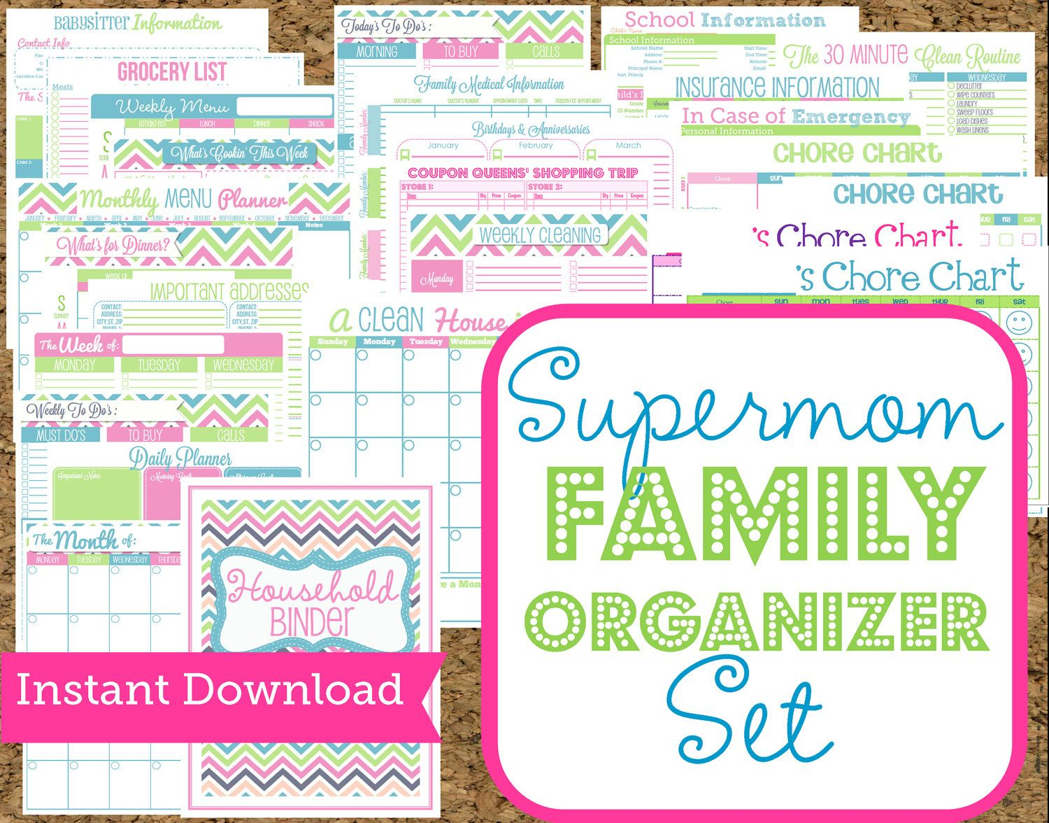 image about Free Printable Home Organization Worksheets identified as Quick Obtain Mother Planners- Residence Company Printables