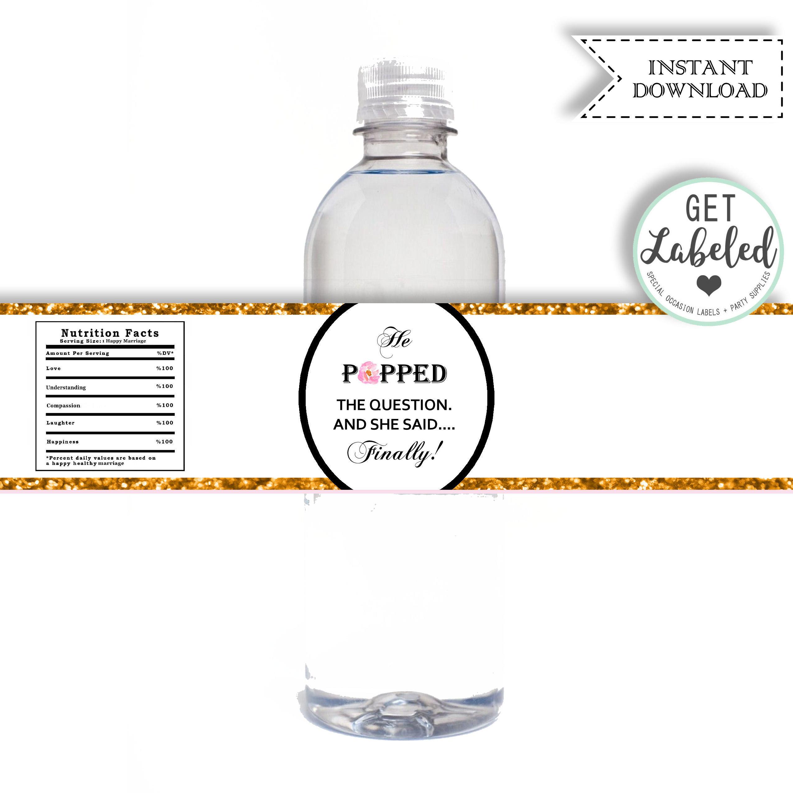 Instant Download Printable Bridal Shower Water Bottle Labels | Etsy - Free Printable Water Bottle Labels Bachelorette