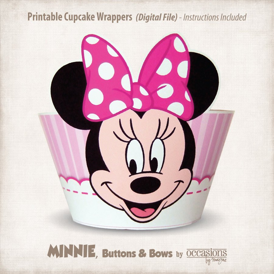 Instant Download Printable Minnie Mouse Cupcake Wrappers | Etsy - Free Printable Minnie Mouse Cupcake Wrappers