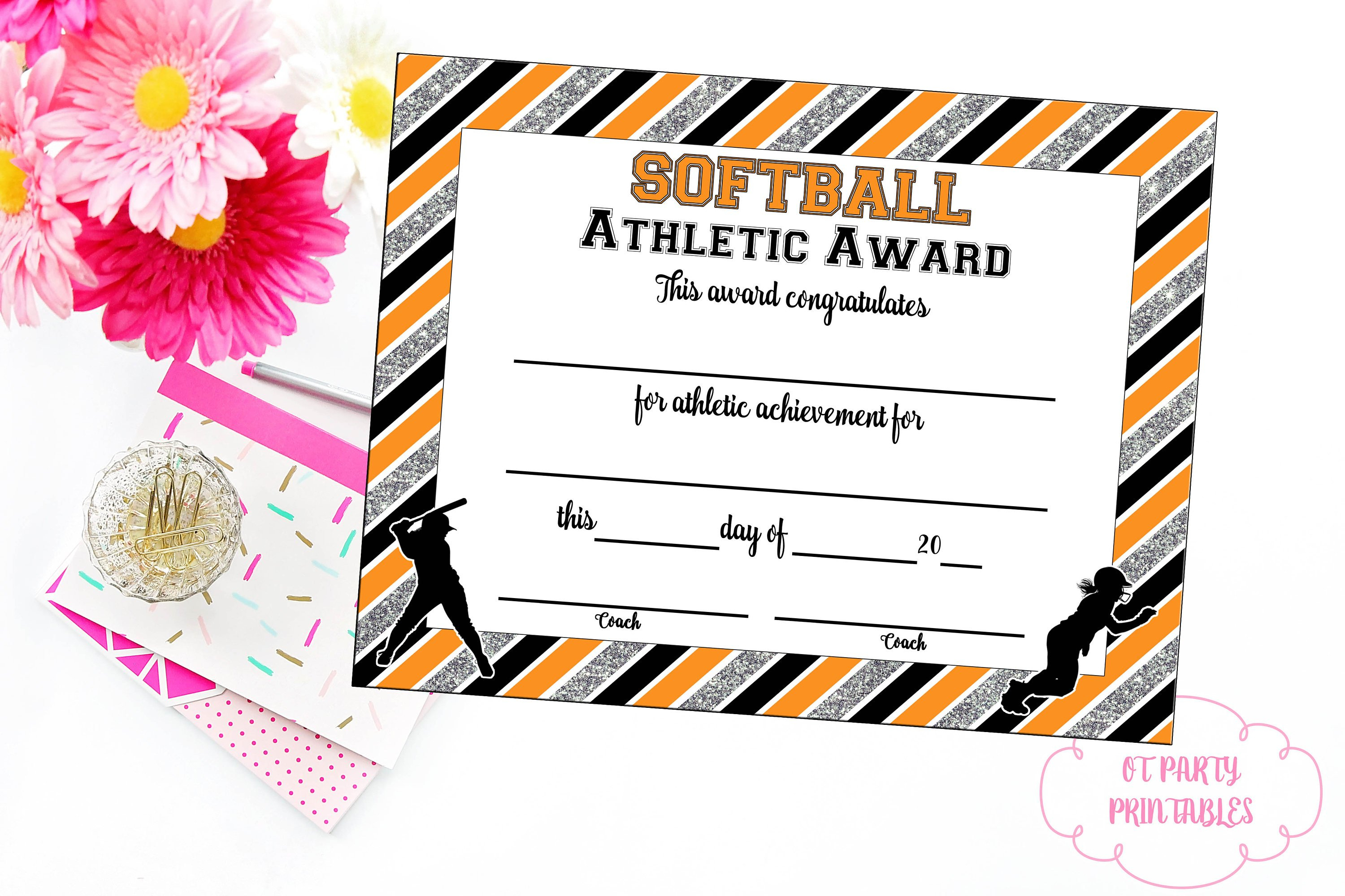 Instant Download Softball Certificate Of Achievement | Etsy - Free Printable Softball Certificates