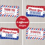 Instant Download Veterans Day Thank You Cards Military Thank | Etsy   Free Printable Patriotic Writing Paper