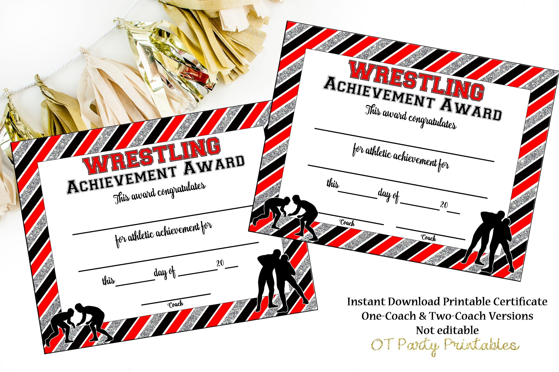 Instant Download Wrestling Award Wrestling Certificate   Etsy - Free Printable Wrestling Certificates