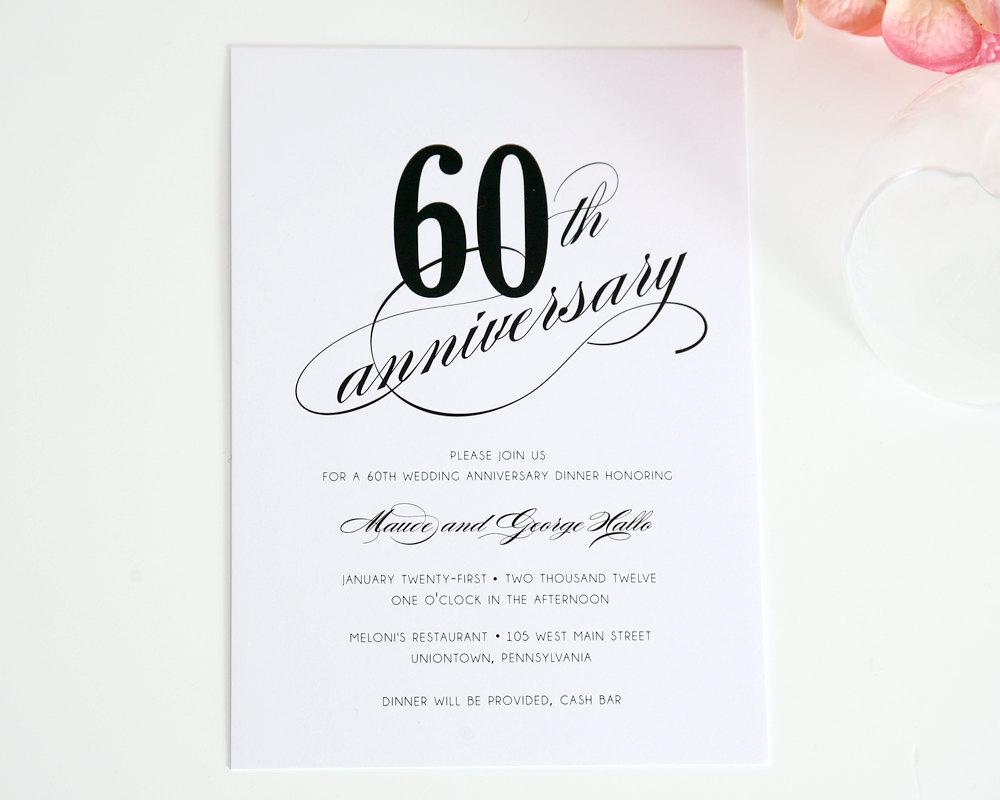Invitation. 60Th Wedding Anniversary Invitations Free Templates - Free Printable 60Th Wedding Anniversary Invitations