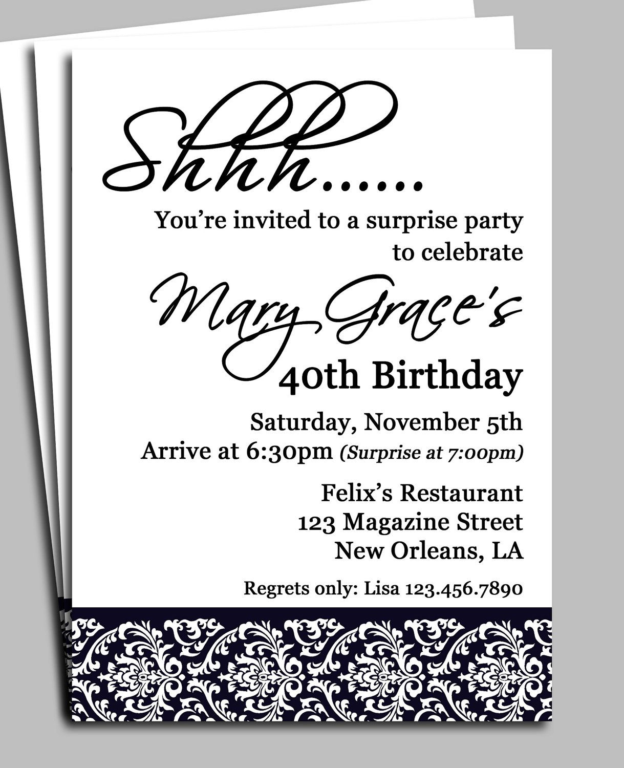 Invitation For Surprise Birthday Party Wording | H | Surprise - Free Printable Surprise 40Th Birthday Party Invitations