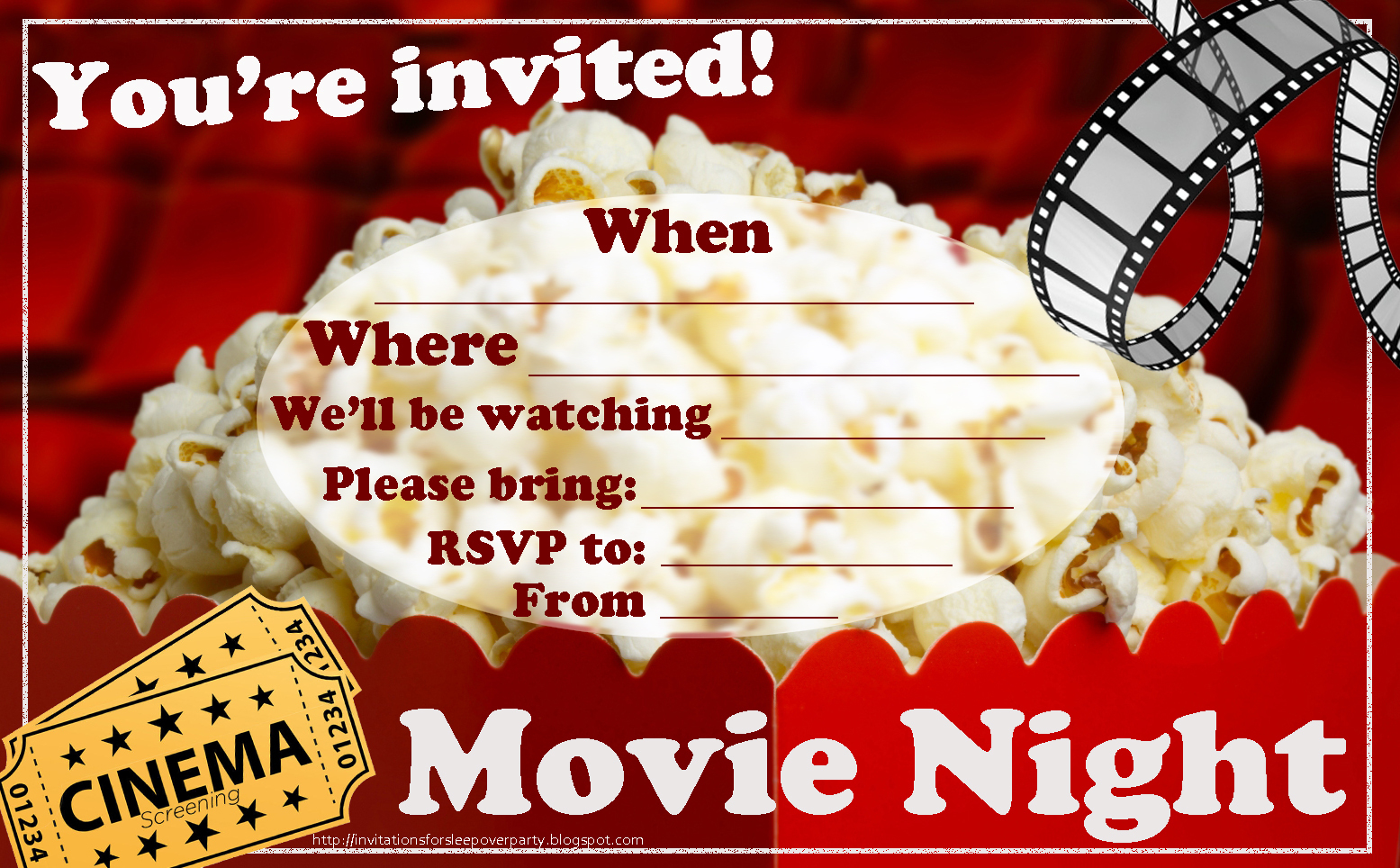 Invitations For Sleepover Party - Movie Night Birthday Invitations Free Printable