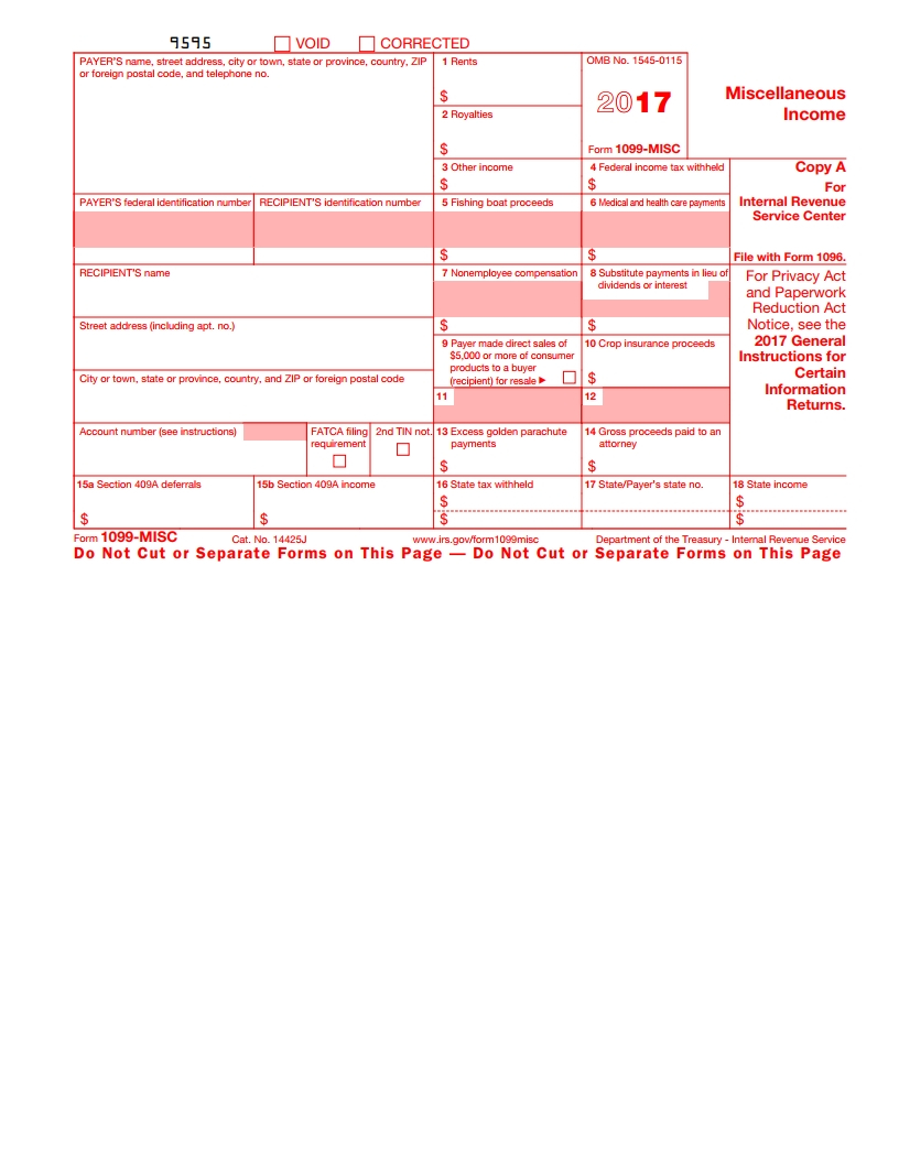 Irs 1099 Misc Form - Free Download, Create, Fill And Print - Free Printable 1099 Form 2016