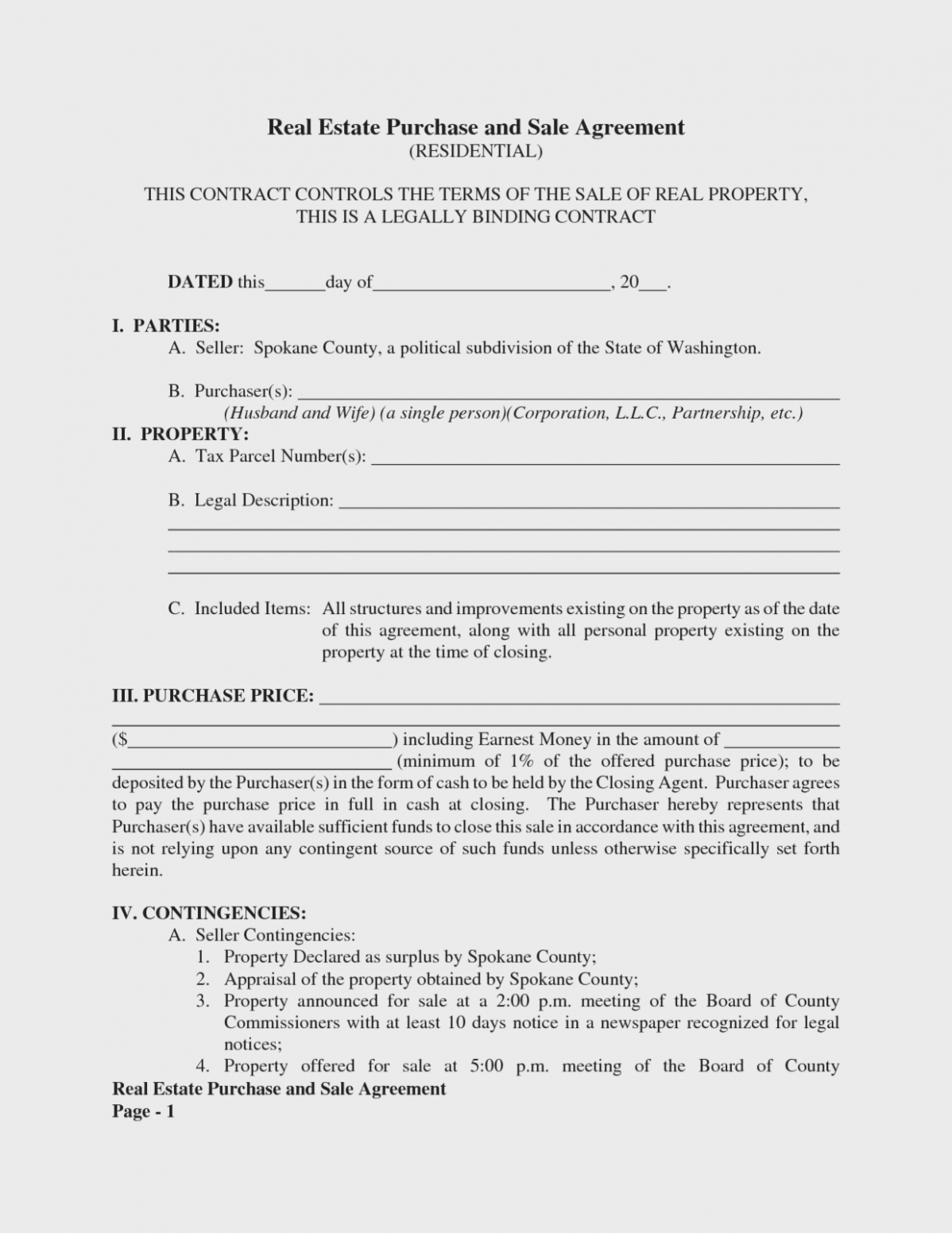 Is Free Real Estate Purchase And Sale   Form Information – Free - Free Printable Real Estate Purchase Agreement
