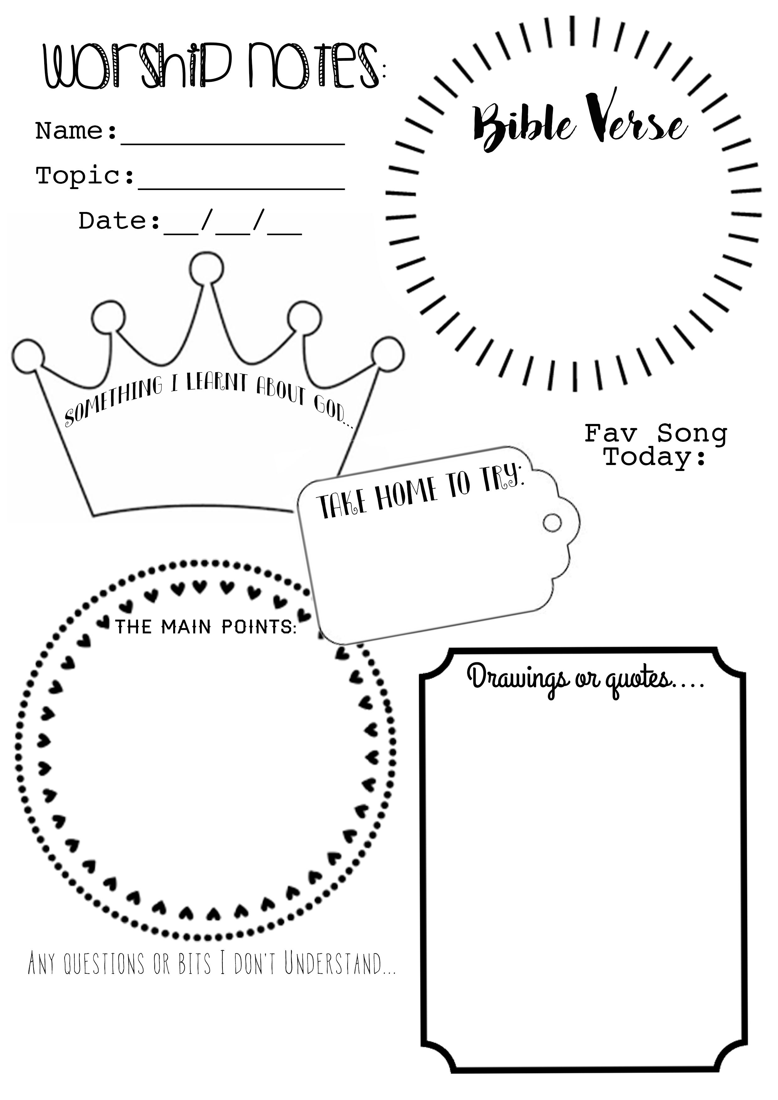 I've Made Up A Worship Notes/ Sermon Notes Free Printable For The - Free Printable Bible Games For Youth