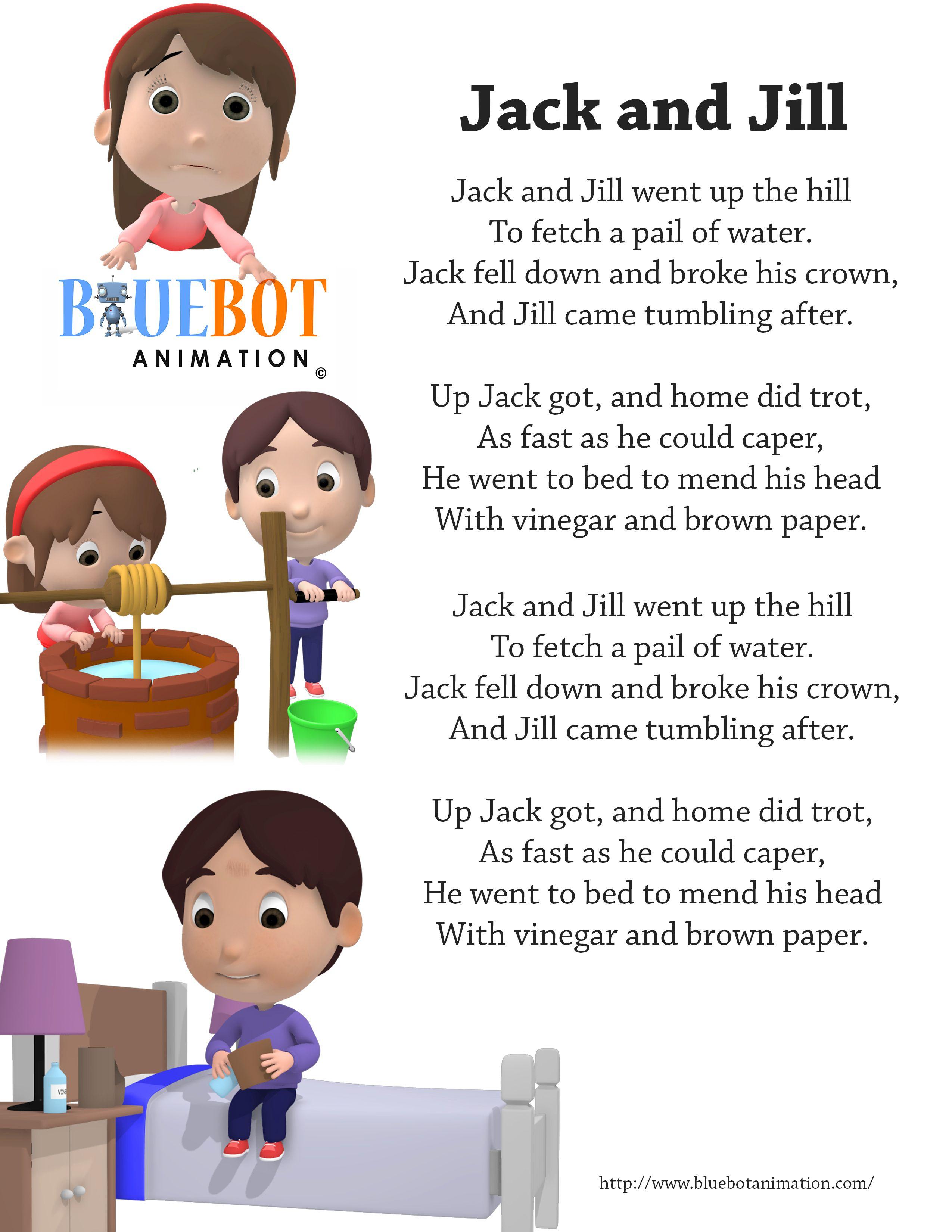 Jack And Jill Nursery Rhyme Lyrics Free Printable Nursery Rhyme - Free Printable Nursery Rhymes Songs